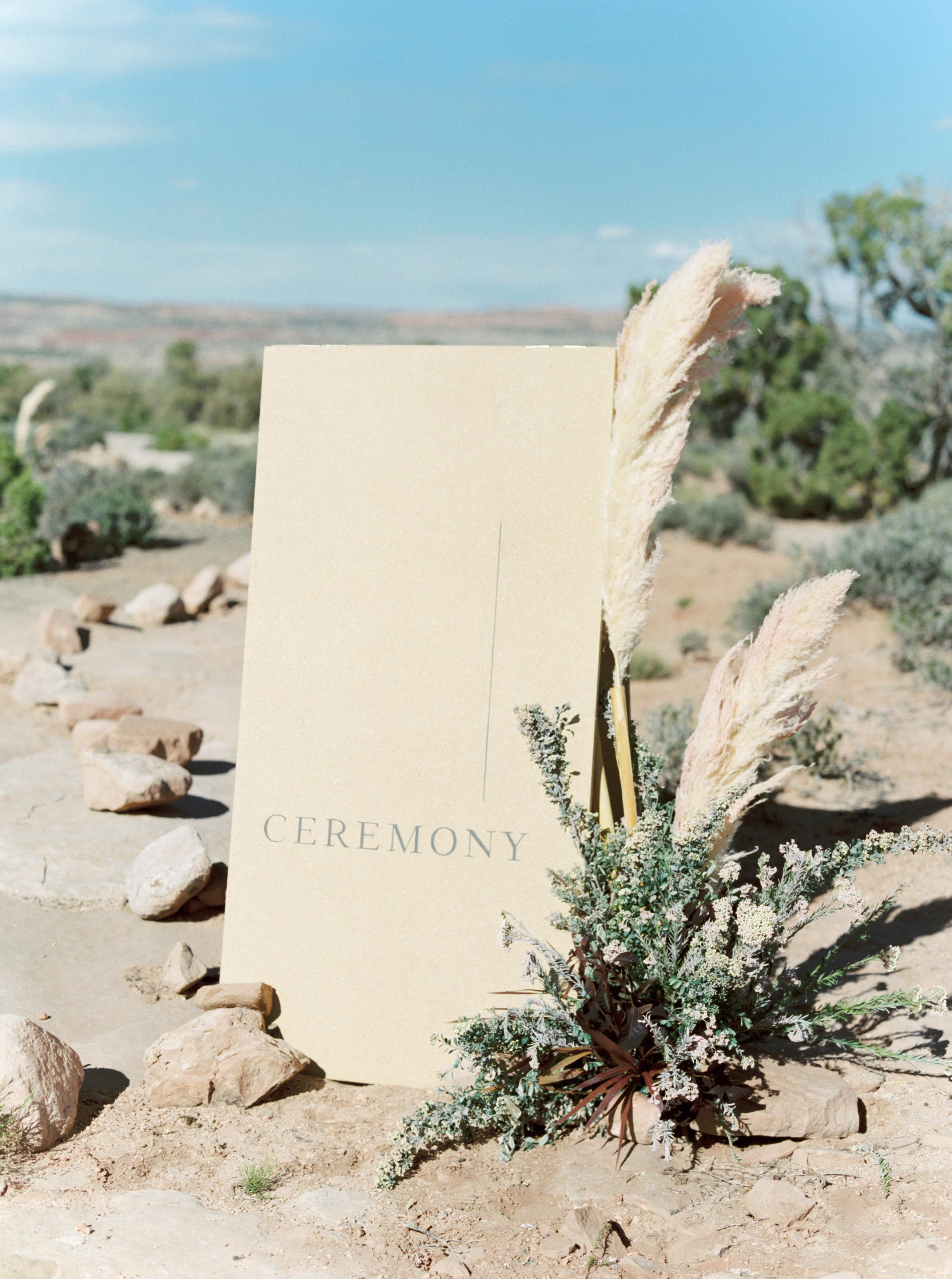 jeanette david wedding desert ceremony site sign