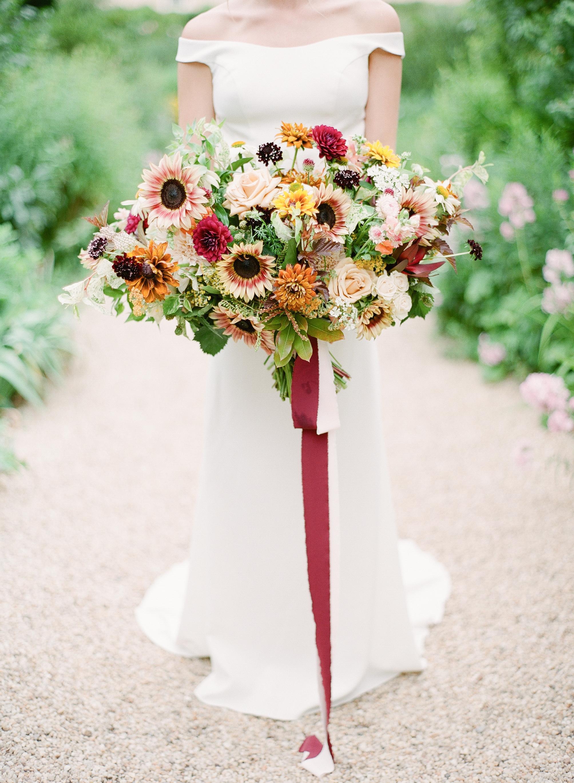 multicolored sunflower bouquet