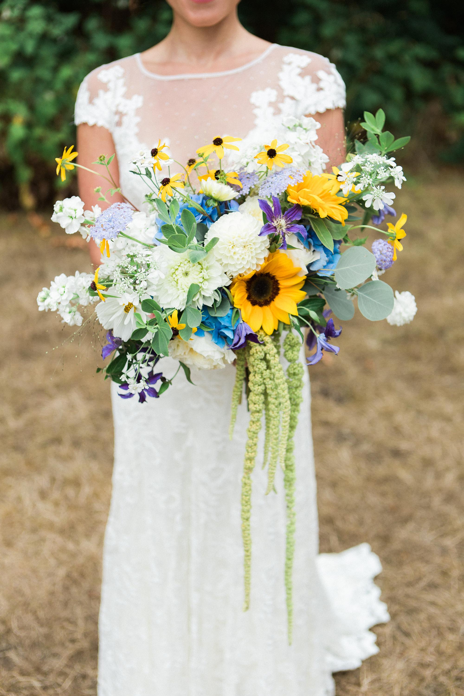 sunflower bouquet with dahlias