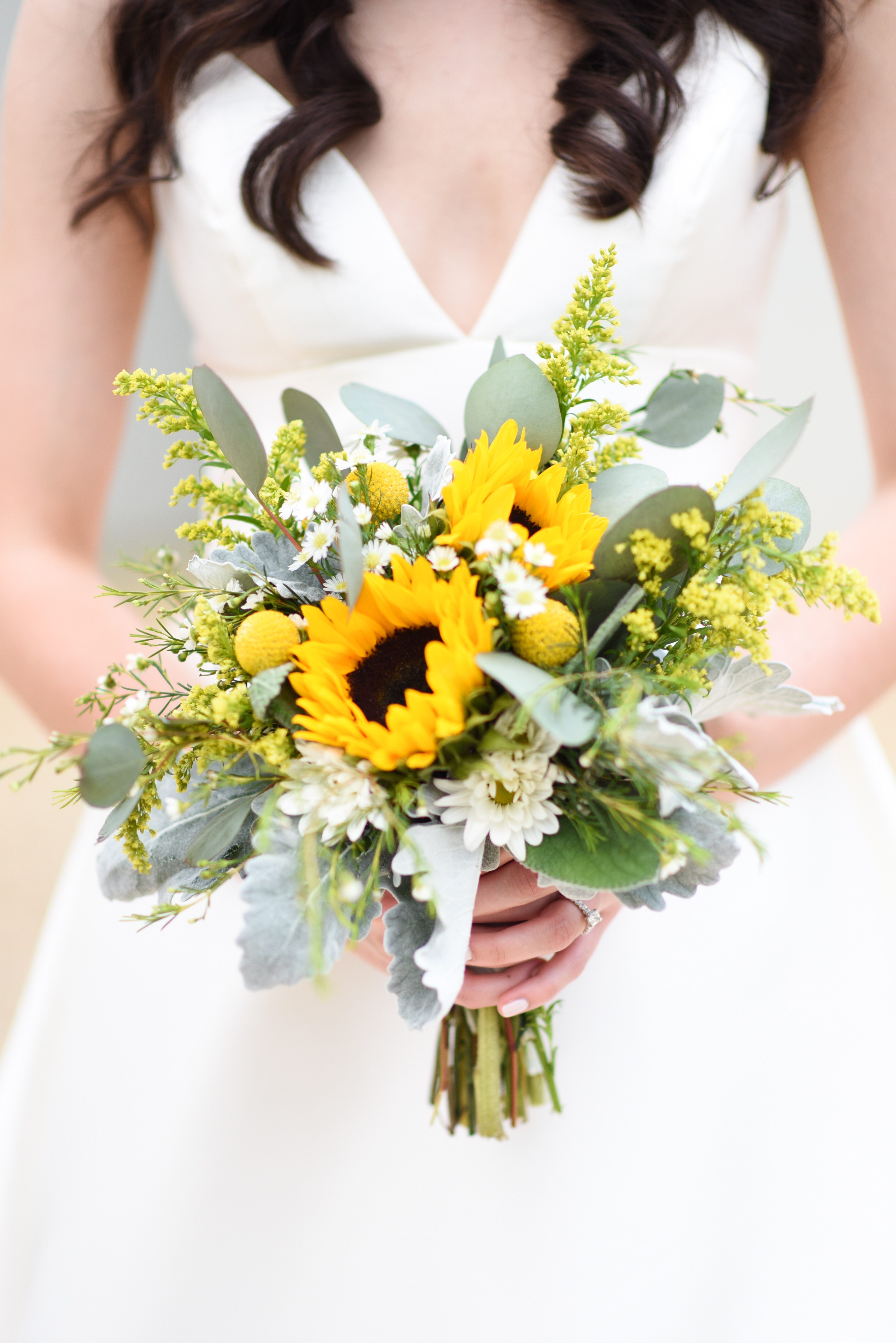 sunflower bouquet with lambs ear