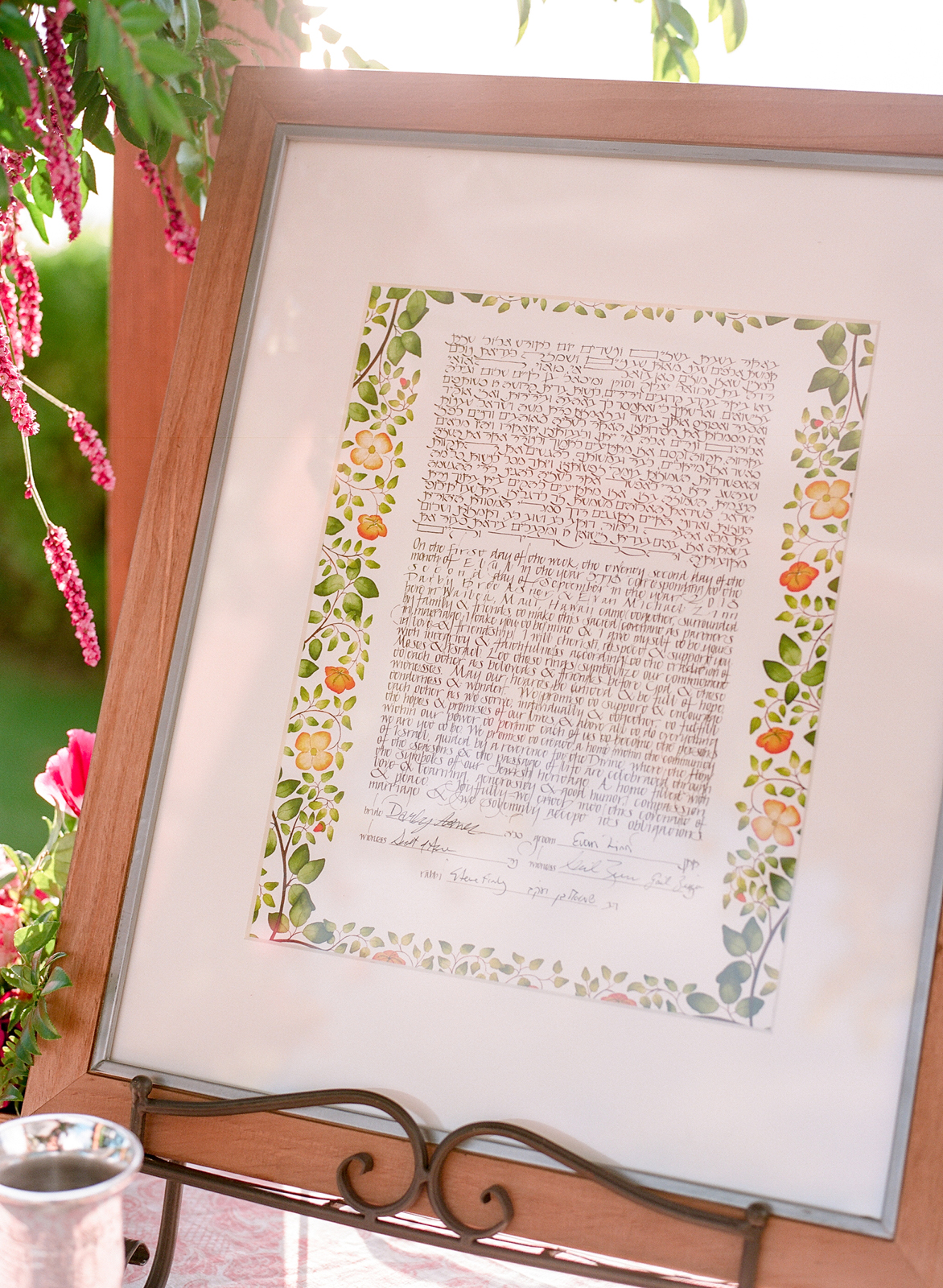 signing of their ketubah bride and groom