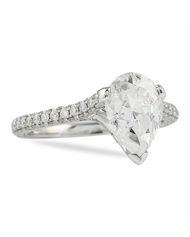 Lauren B. Jewelry Moissanite Pear White Gold Engagement Ring