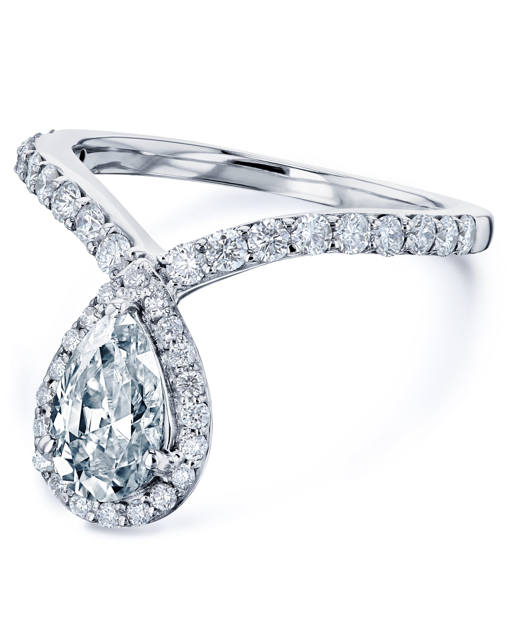 Kobelli Pear Drop Moissanite V-Shape Ring