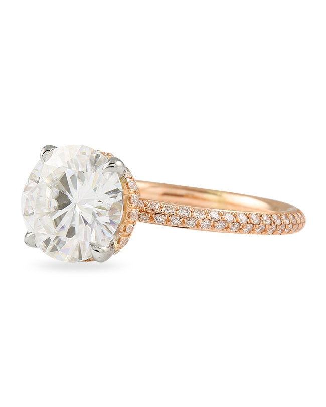 Lauren B. Jewelry Moissanite Round Two-Tone Engagement Ring