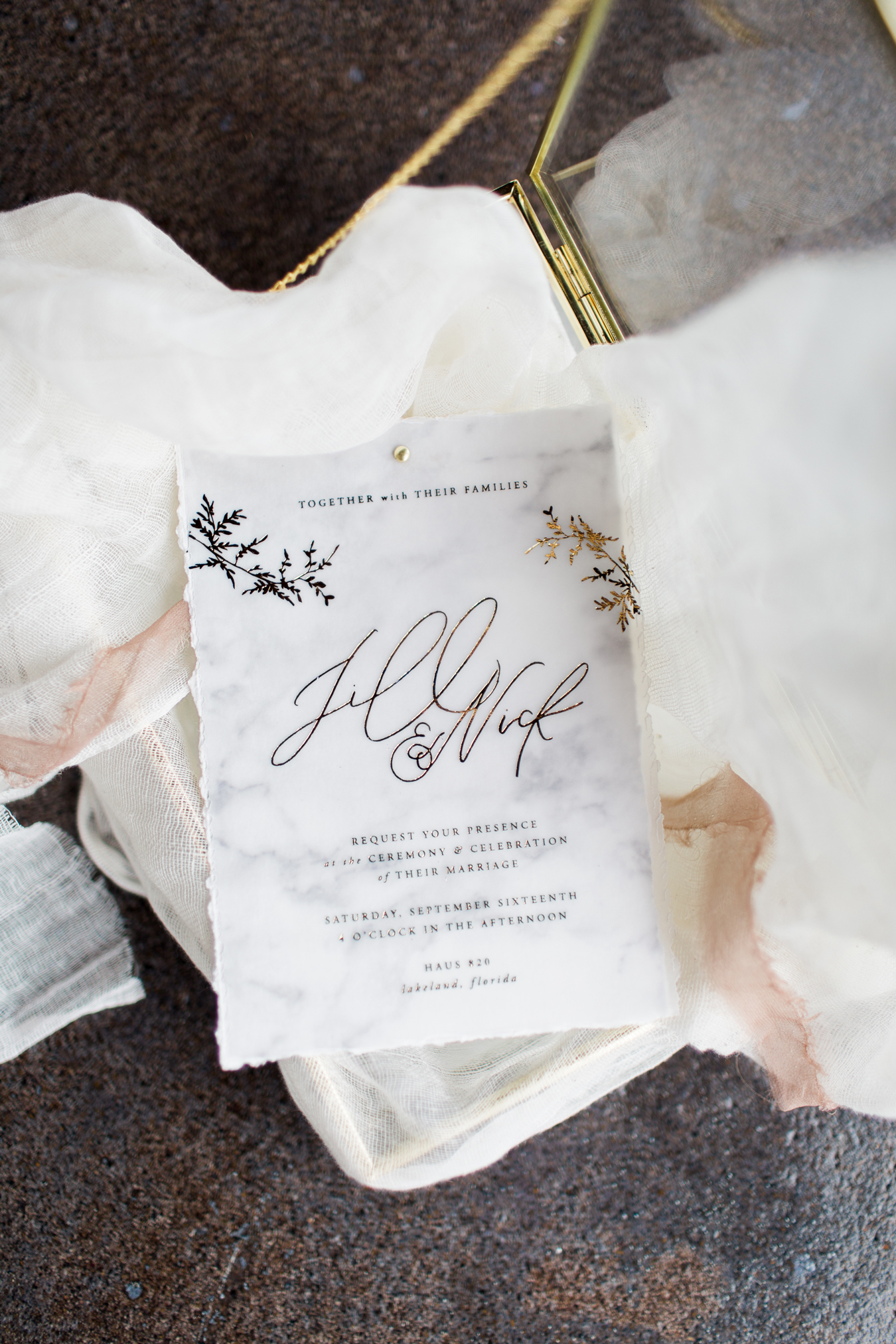 stationary with subtle white marble design and gold writing