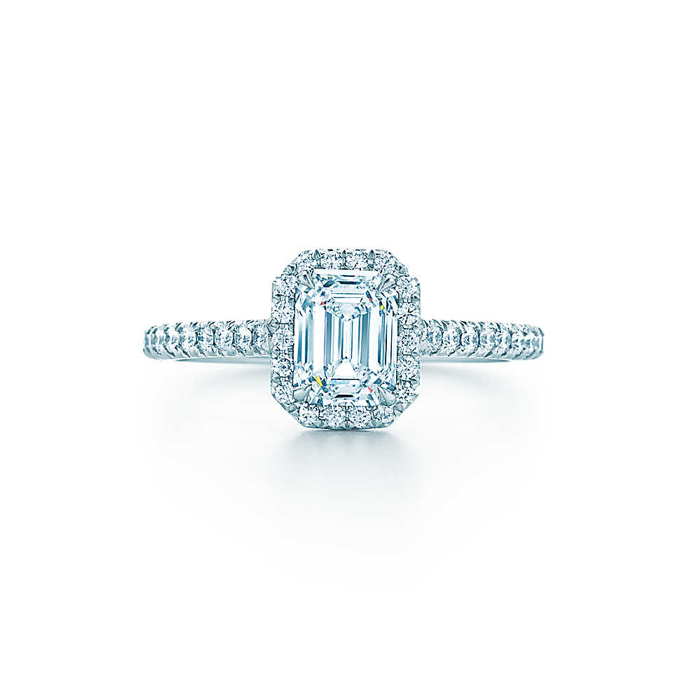 """Tiffany & Co. """"Soleste"""" Emerald-Cut Halo Engagement Ring with Diamond Band"""