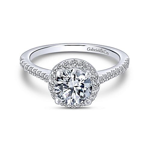 "Gabriel & Co. ""Carly"" 14-Karat White Gold Round Halo Engagement Ring"