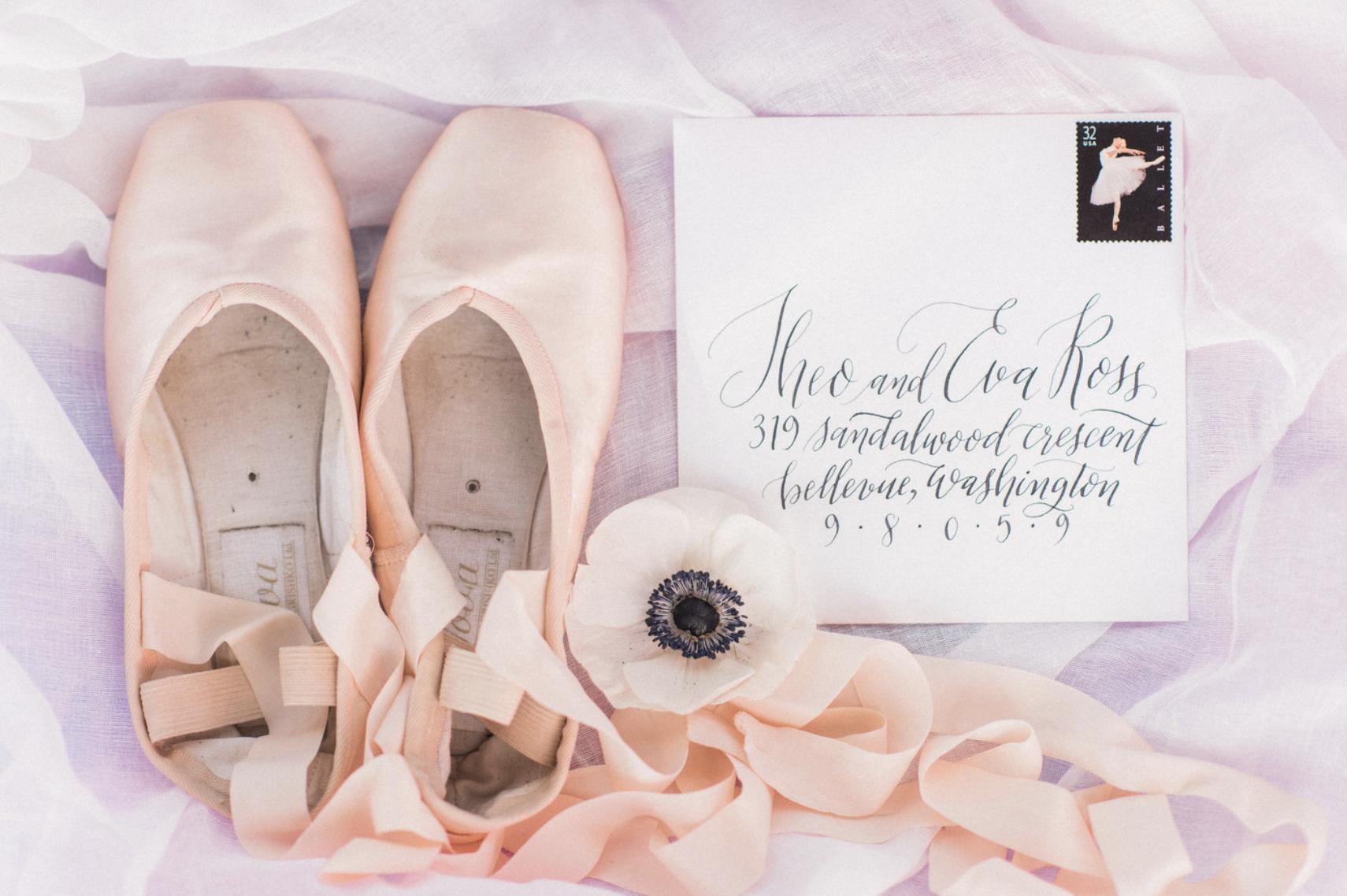 ballet stamped wedding invitation