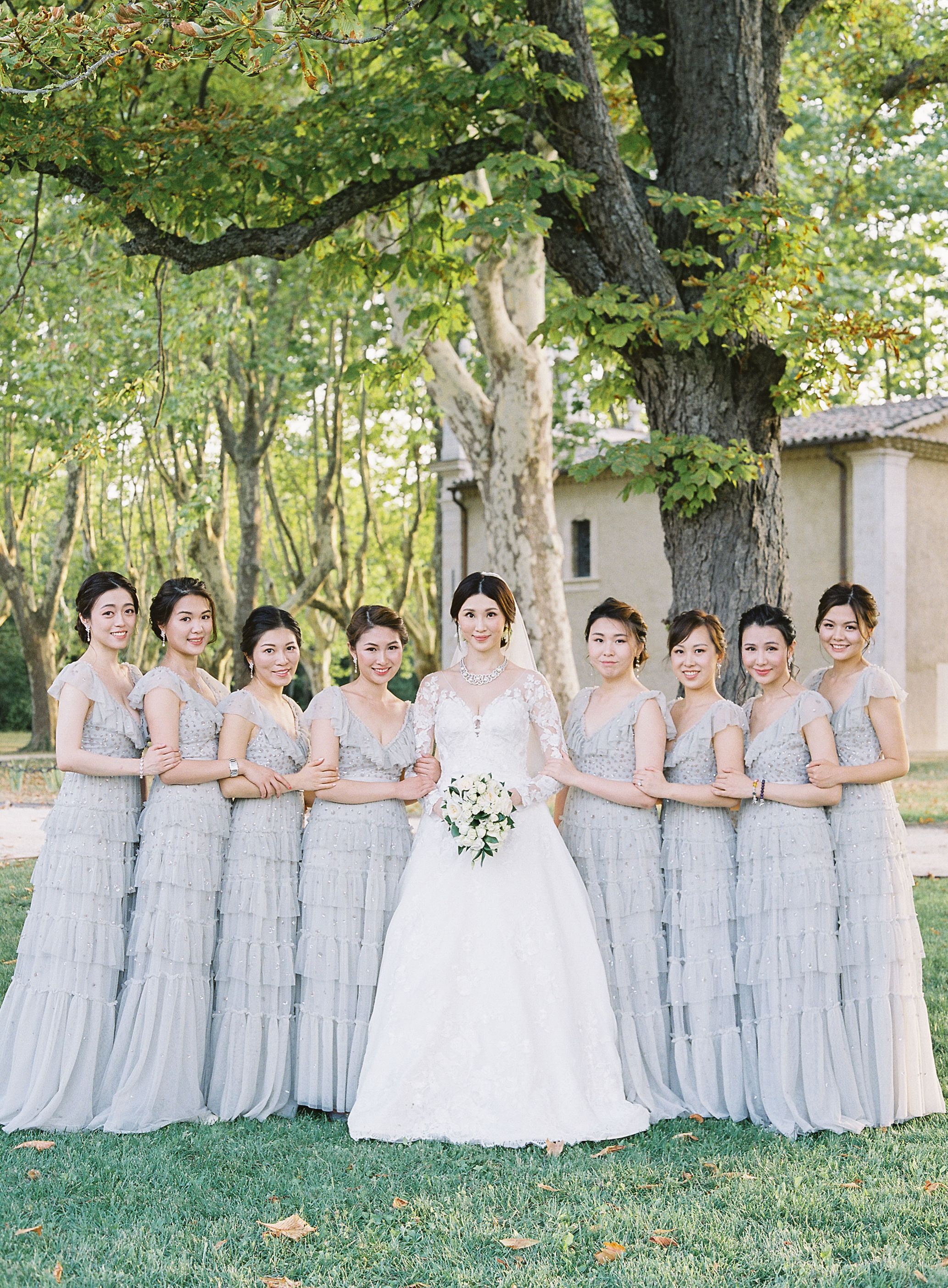 janet patrick wedding bridesmaids in blue
