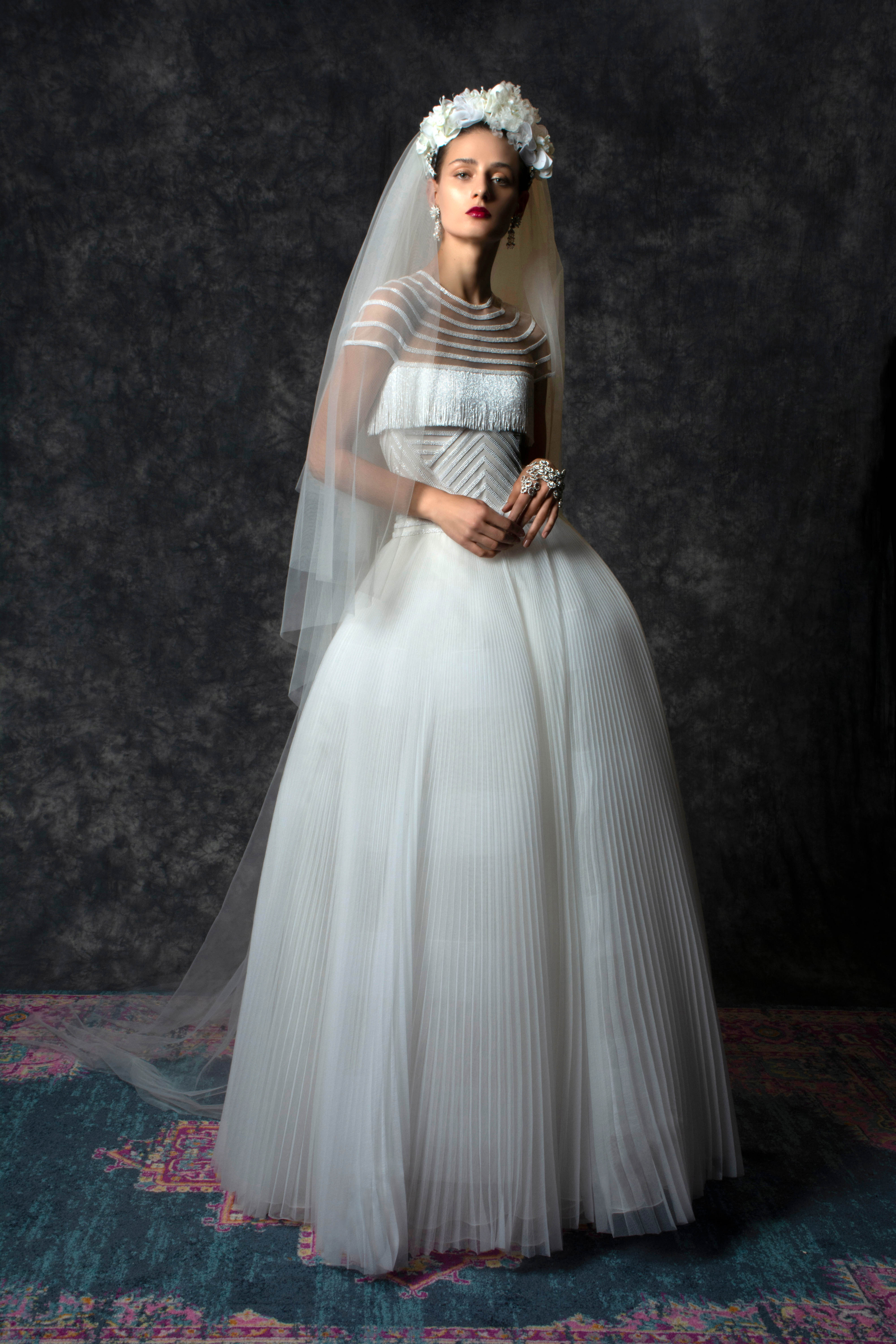 high neck sheer short sleeves fringe crimped ball gown Wedding Dress Naeem Khan Spring 2020