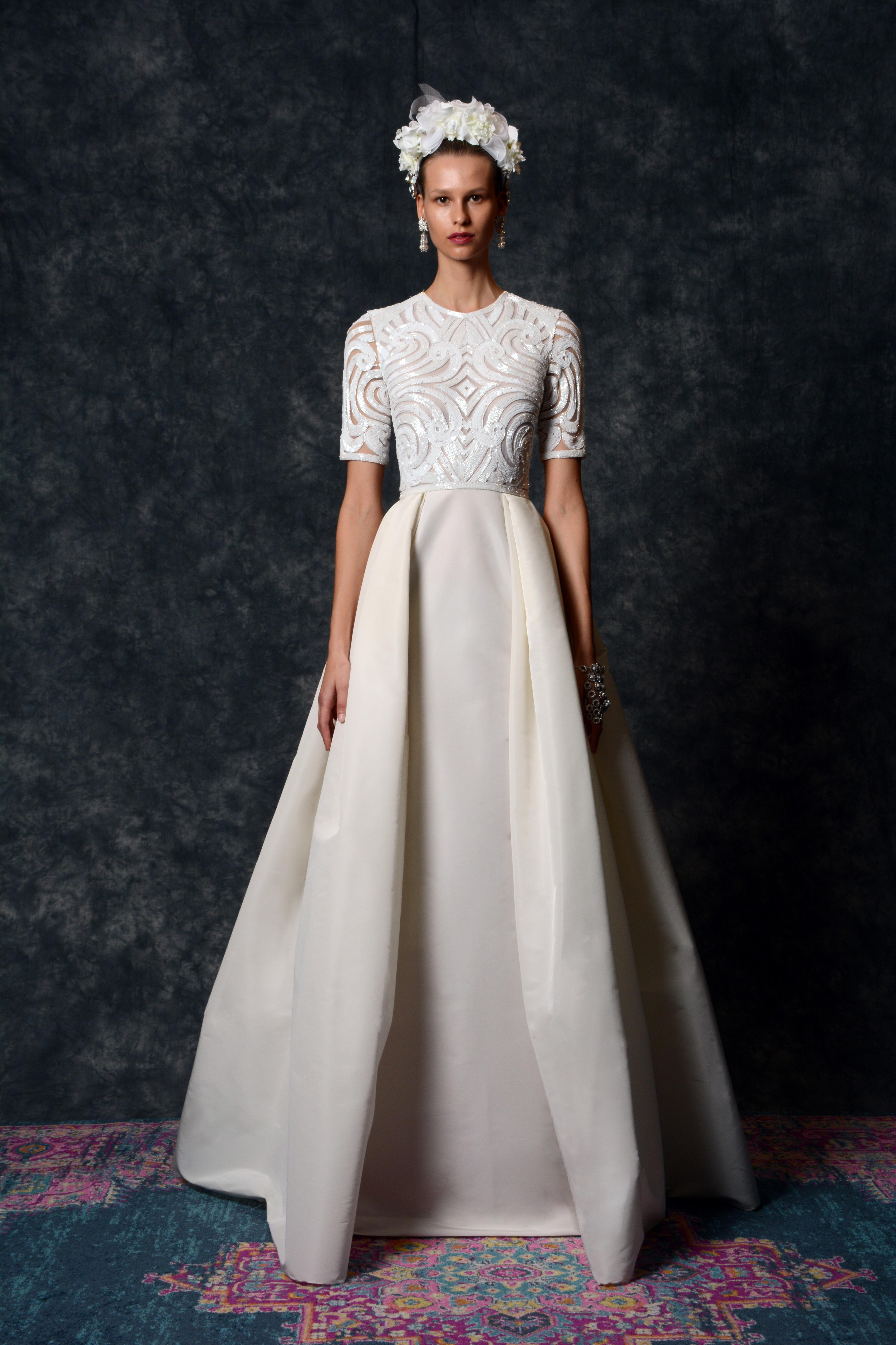 short sleeve jewel neckline Wedding Dress Naeem Khan Spring 2020