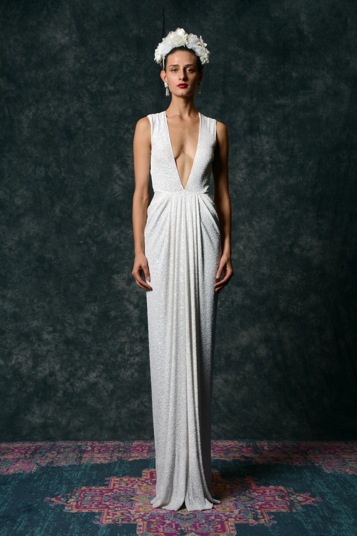 off the shoulder v-neck sheath Wedding Dress Naeem Khan Spring 2020
