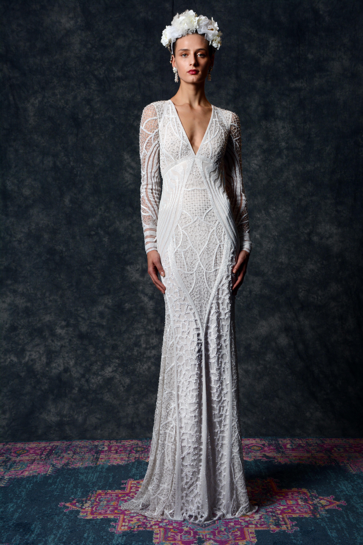 long sleeve patterned v-neck Wedding Dress Naeem Khan Spring 2020