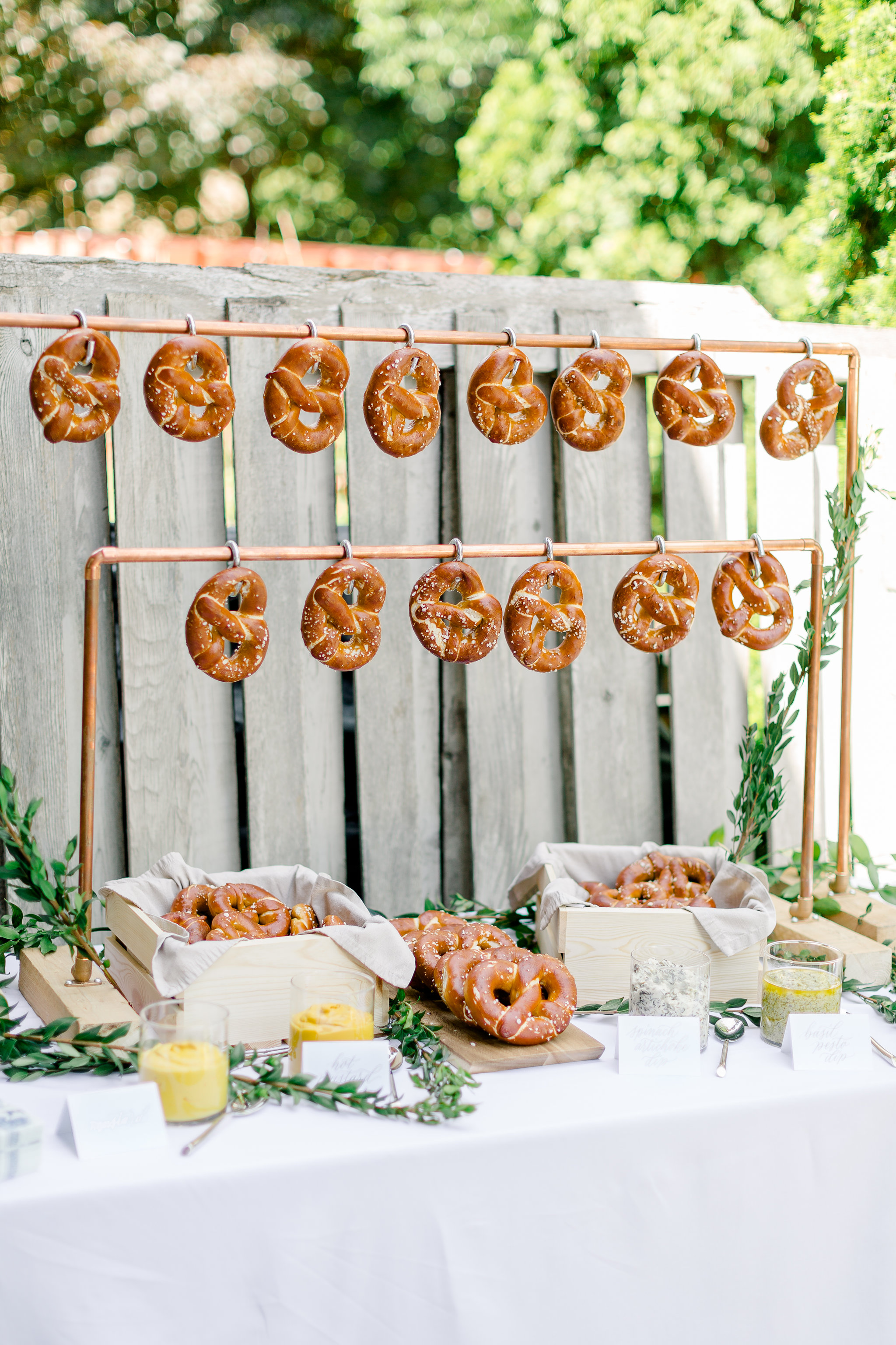 copper pretzel food wall