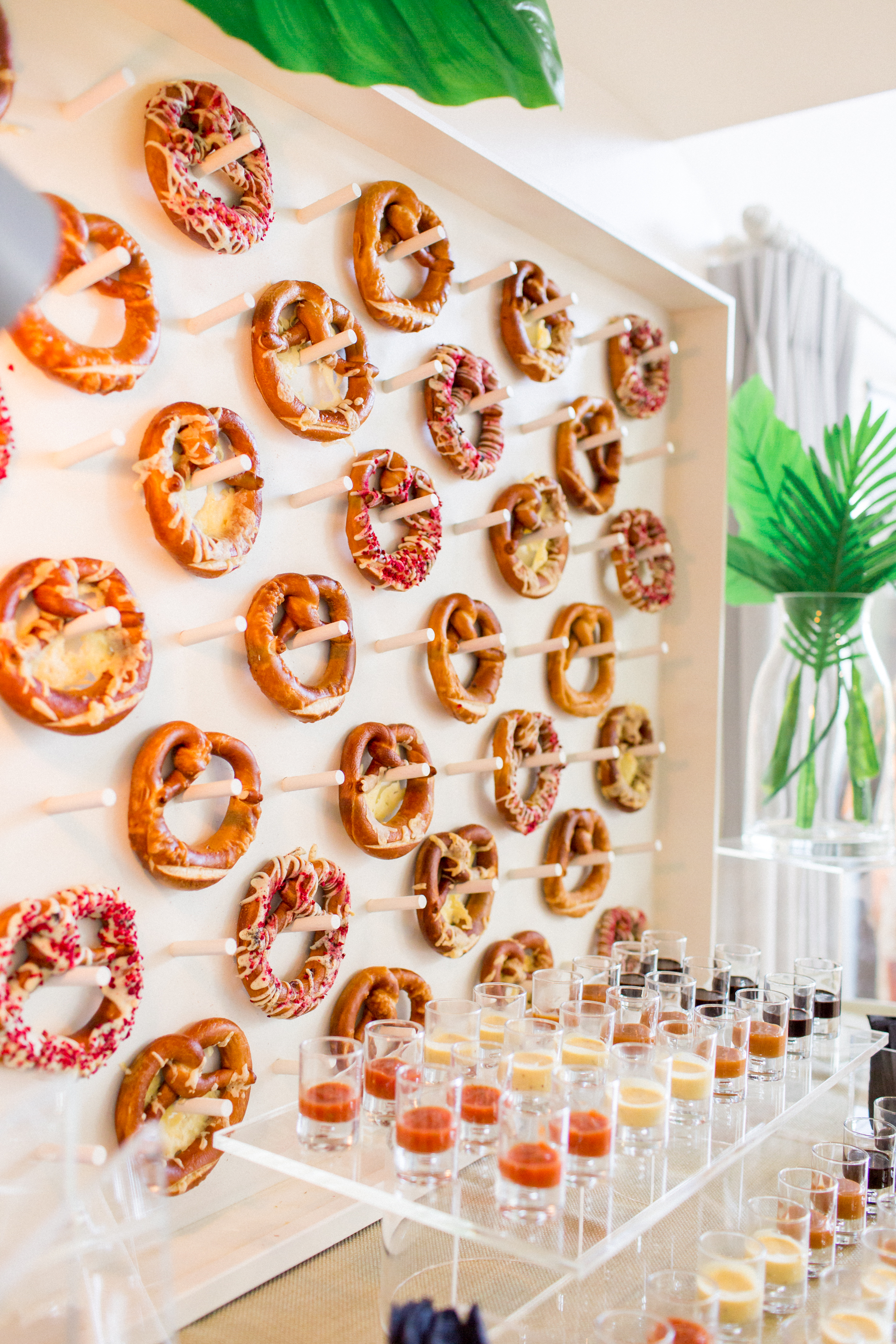 pretzel food wall with condiments