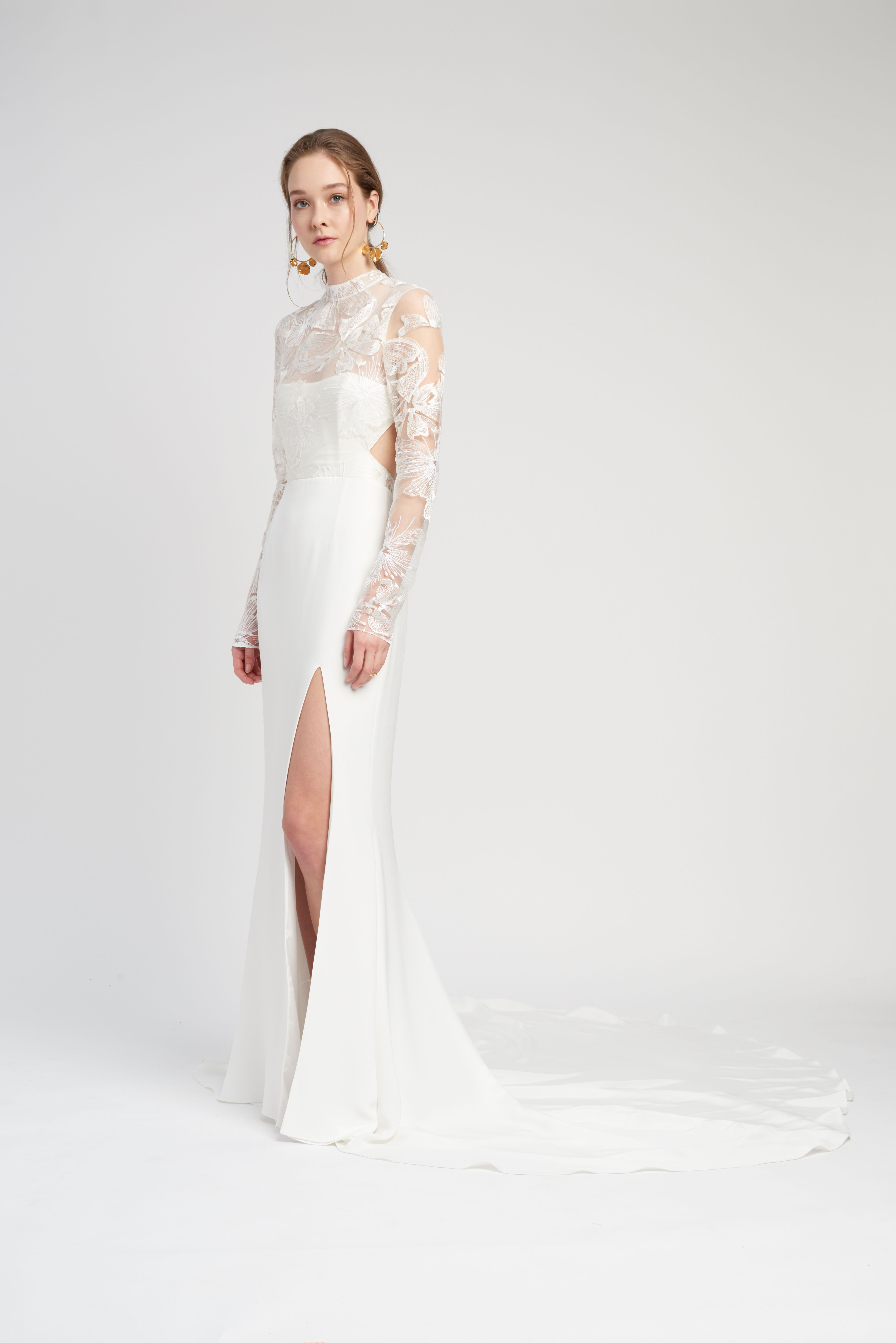 lace high neck long sleeve side slit train a-line wedding dress Lover of Mine by Alexandra Grecco Spring 2020