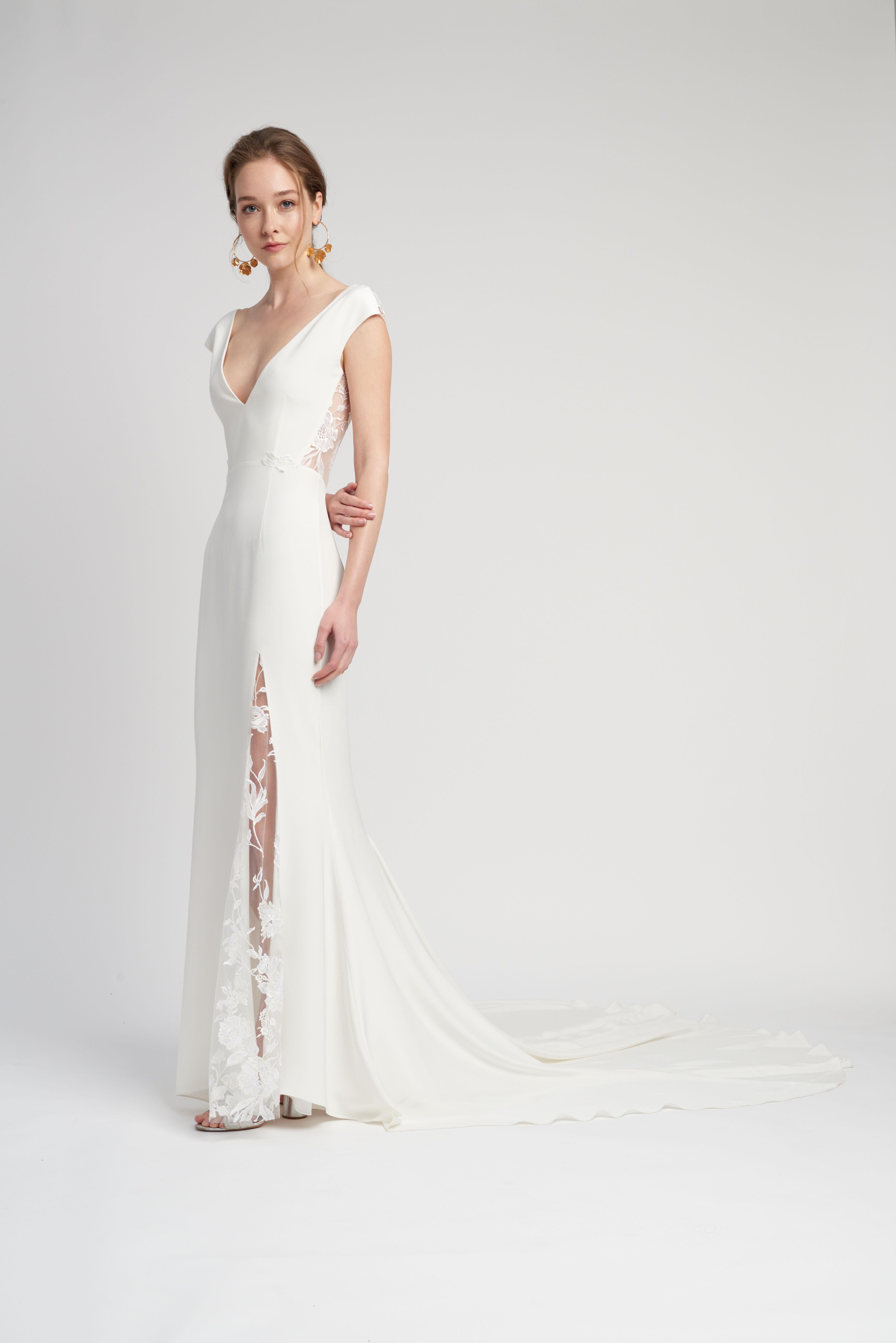 cap sleeve deep v-neck lace train a-line wedding dress Lover of Mine by Alexandra Grecco Spring 2020