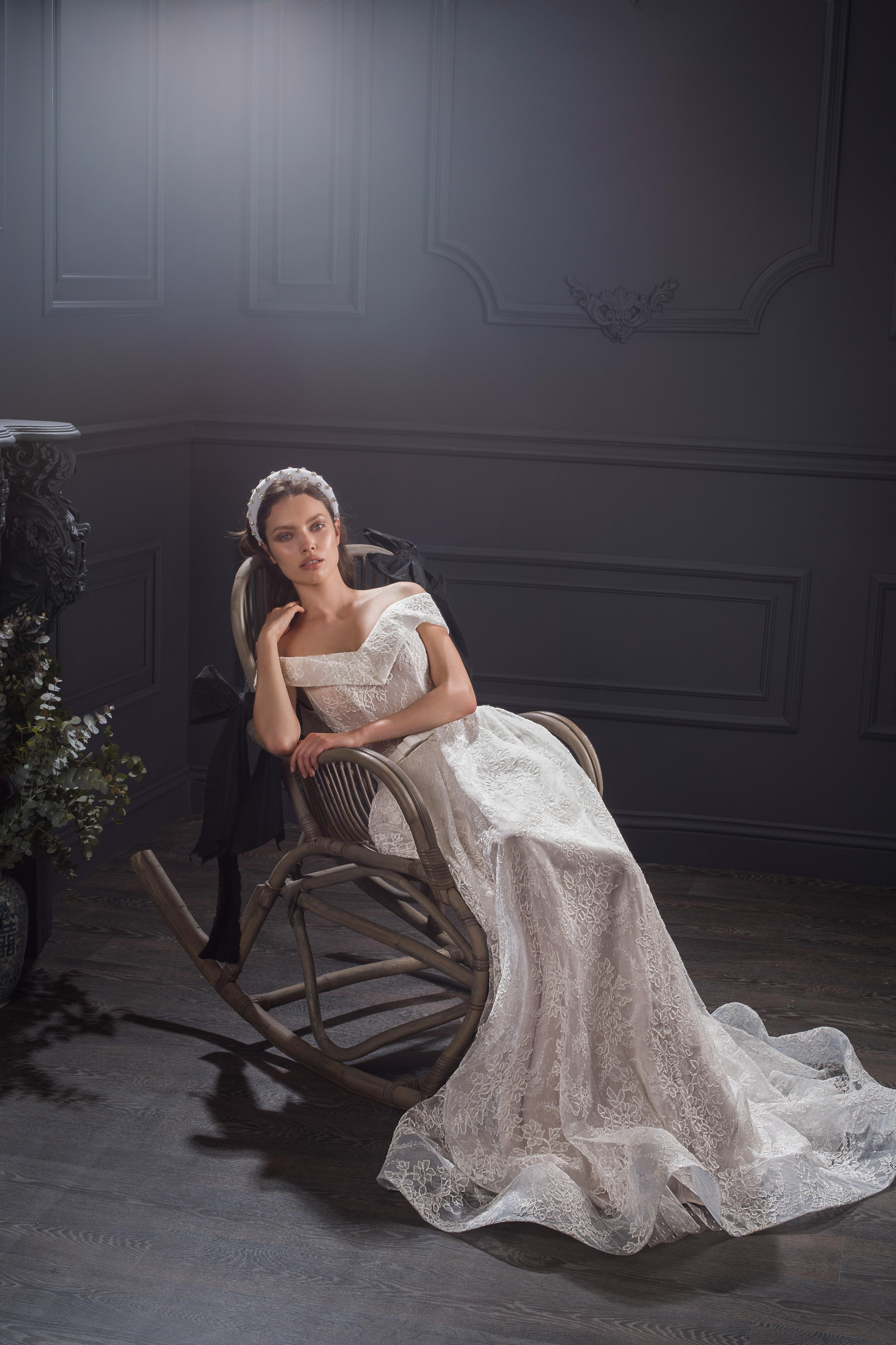 off-the-shoulder lace belted a-line wedding dress Lihi Hod Spring 2020