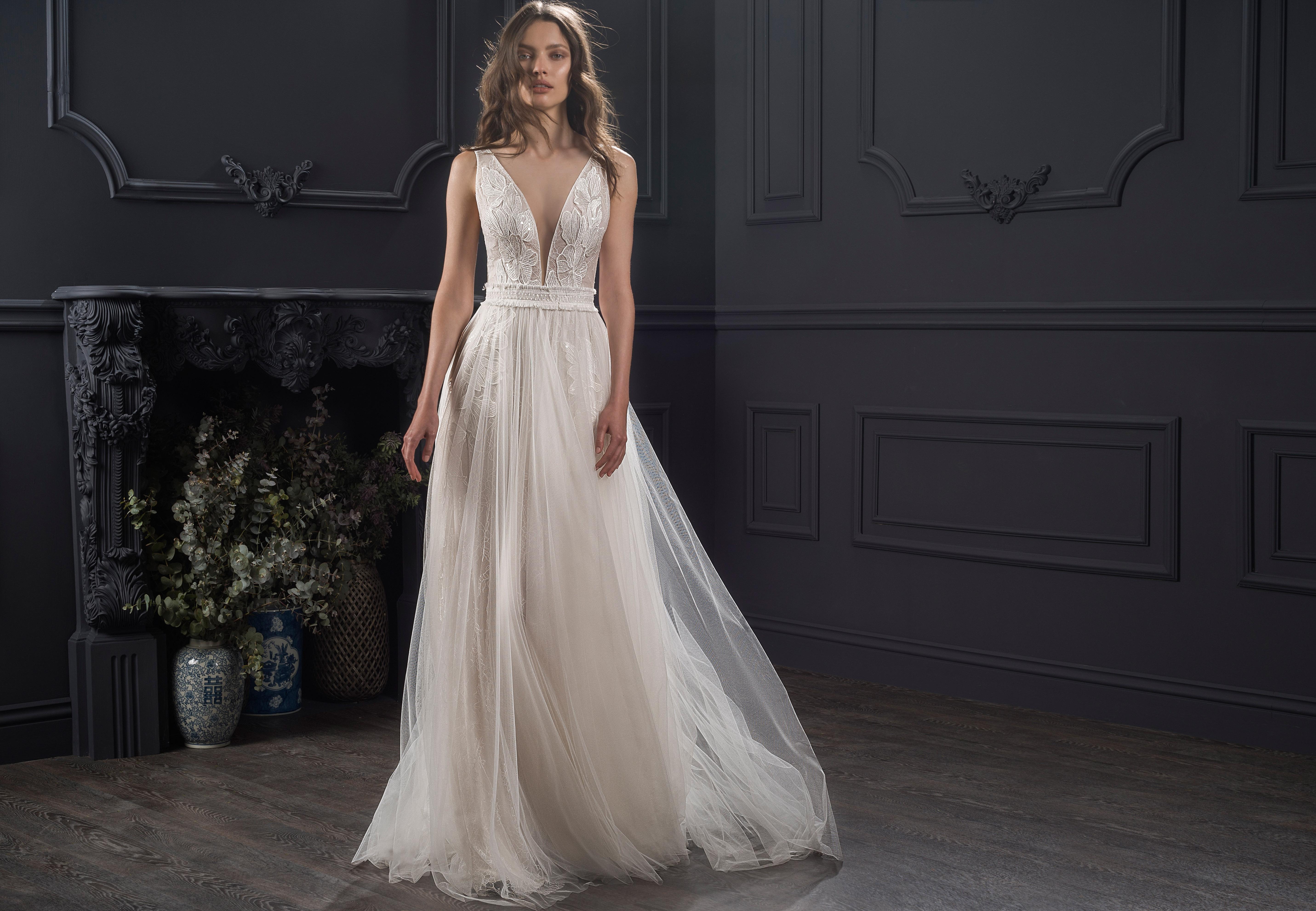 wide strap sleeveless deep v-neck tulle a-line wedding dress Lihi Hod Spring 2020