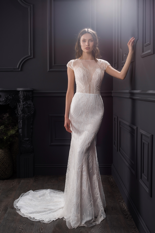 illusion boat neck cap sleeve lace a-line wedding dress Lihi Hod Spring 2020