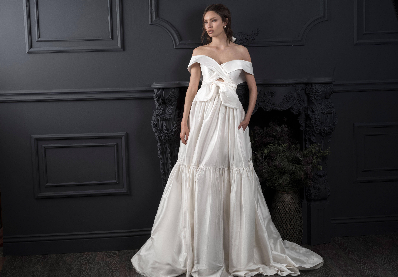 off-the-shoulder knot front keyhole a-line wedding dress Lihi Hod Spring 2020