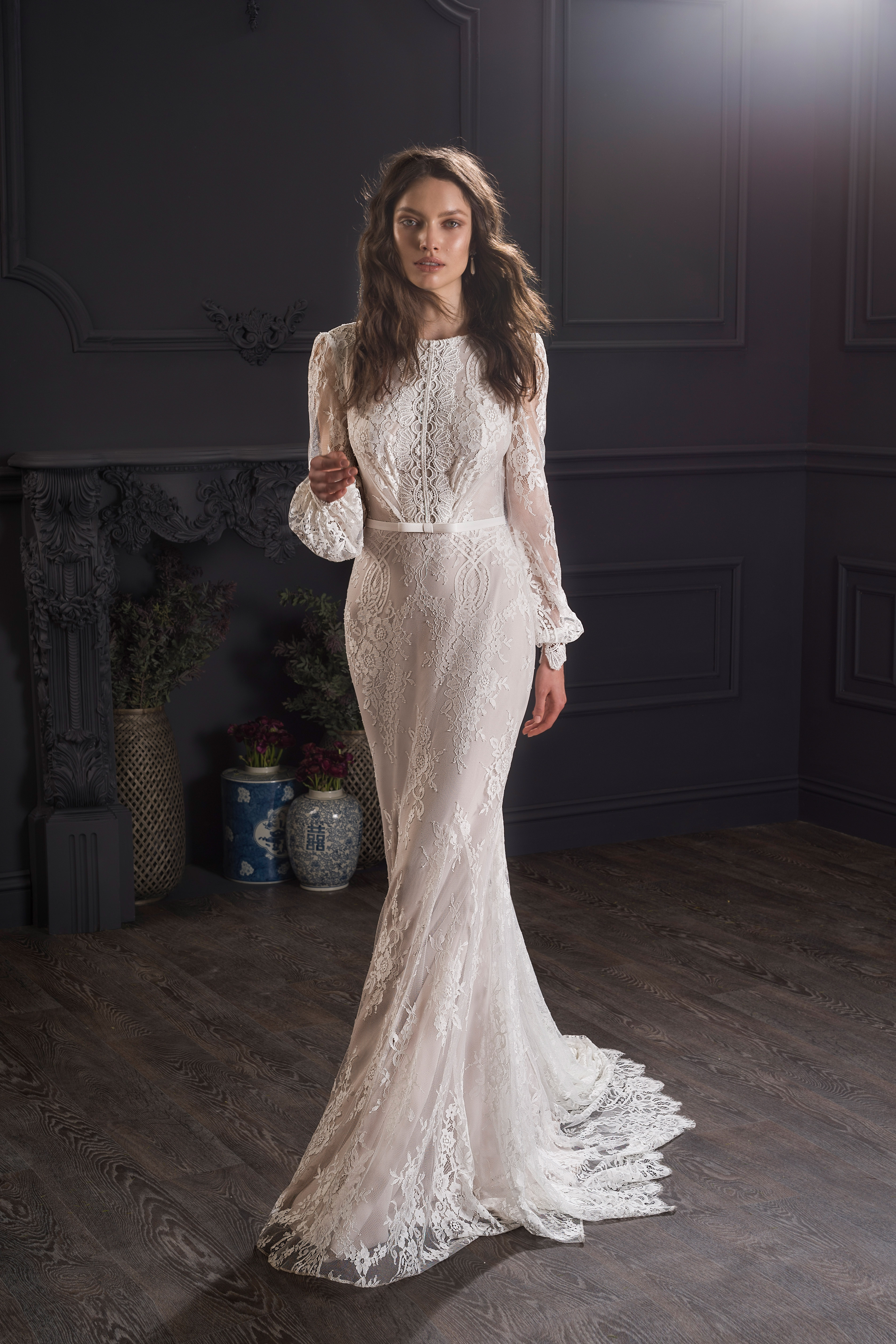lace long sleeve boat neck train semi mermaid wedding dress Lihi Hod Spring 2020