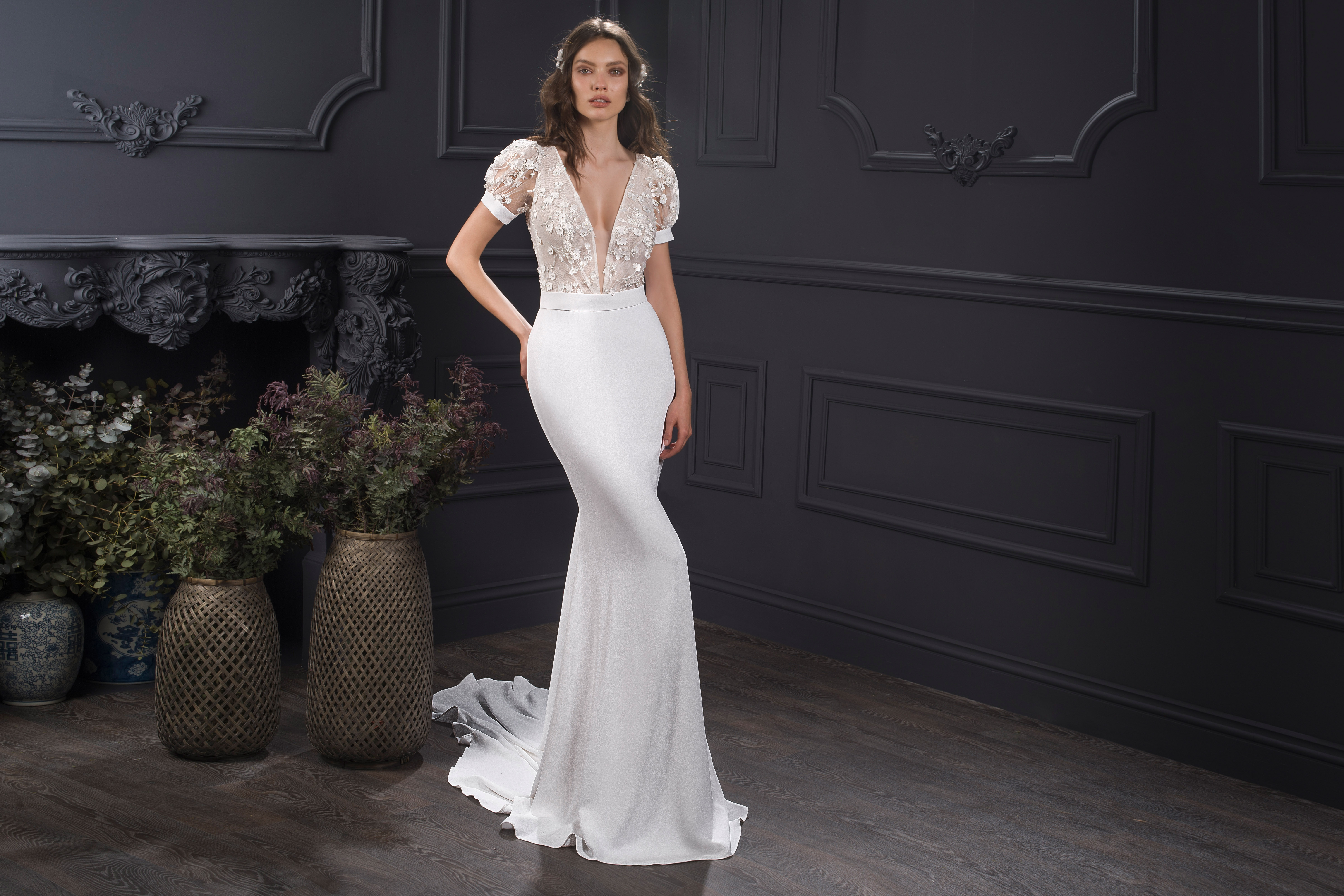 plunging v-neck puffed short sleeve lace semi mermaid wedding dress Lihi Hod Spring 2020