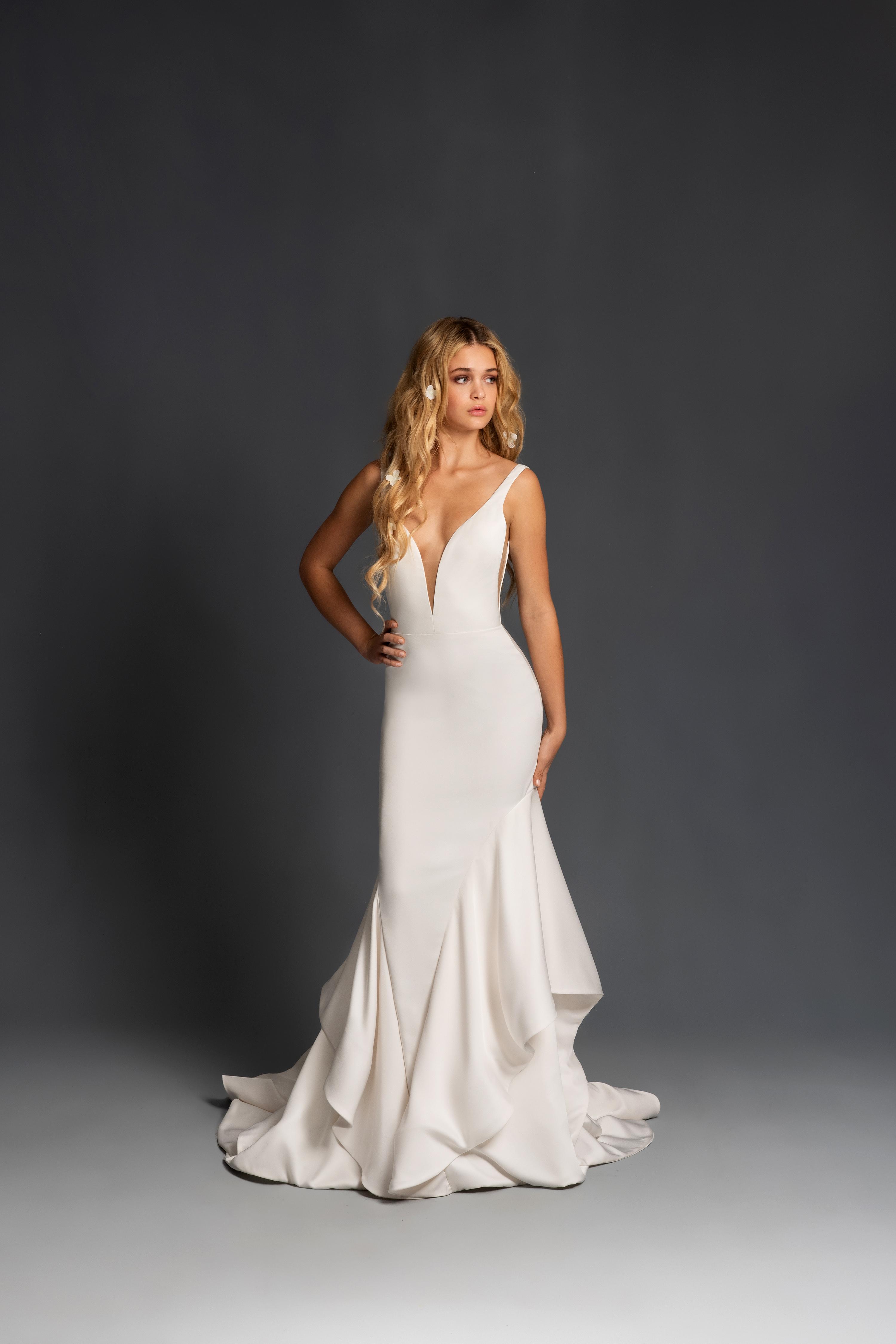 blush hayley paige sleeveless deep v ruffles wedding dress spring 2020