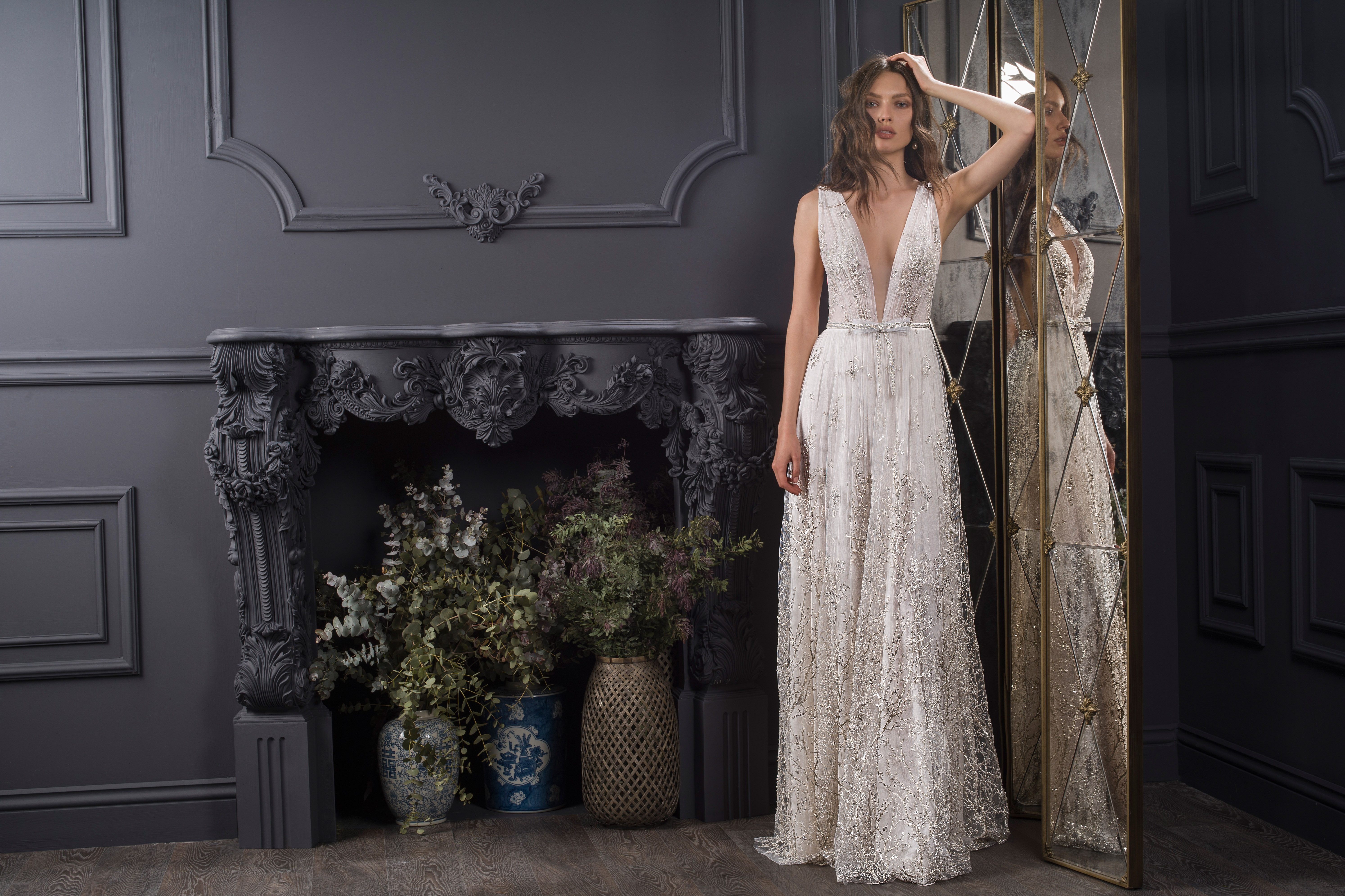 deep v-neck thick strap sleeveless glitter lace a-line wedding dress Lihi Hod Spring 2020