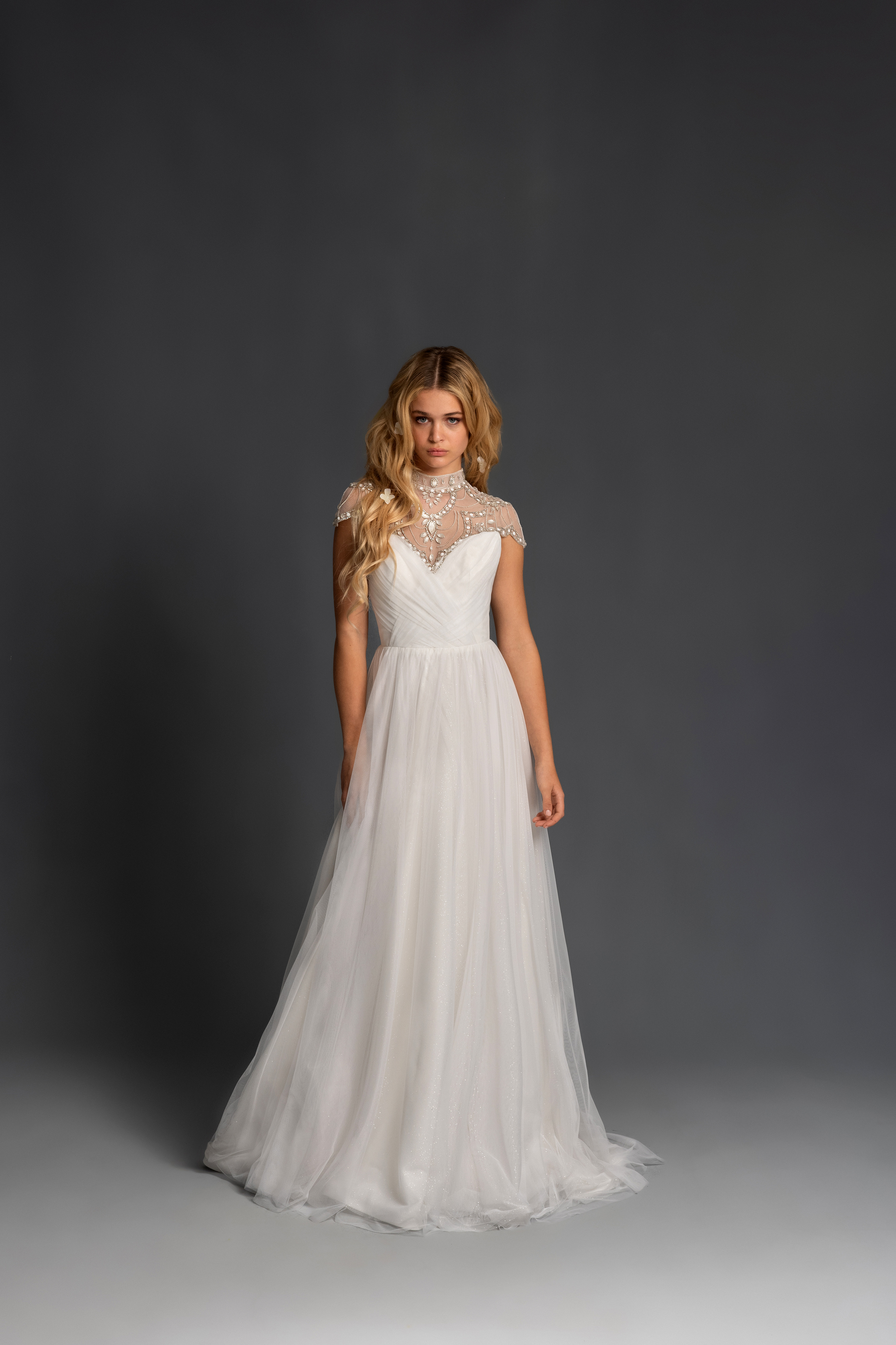 blush hayley paige cap sleeves high neck illusion a line wedding dress spring 2020