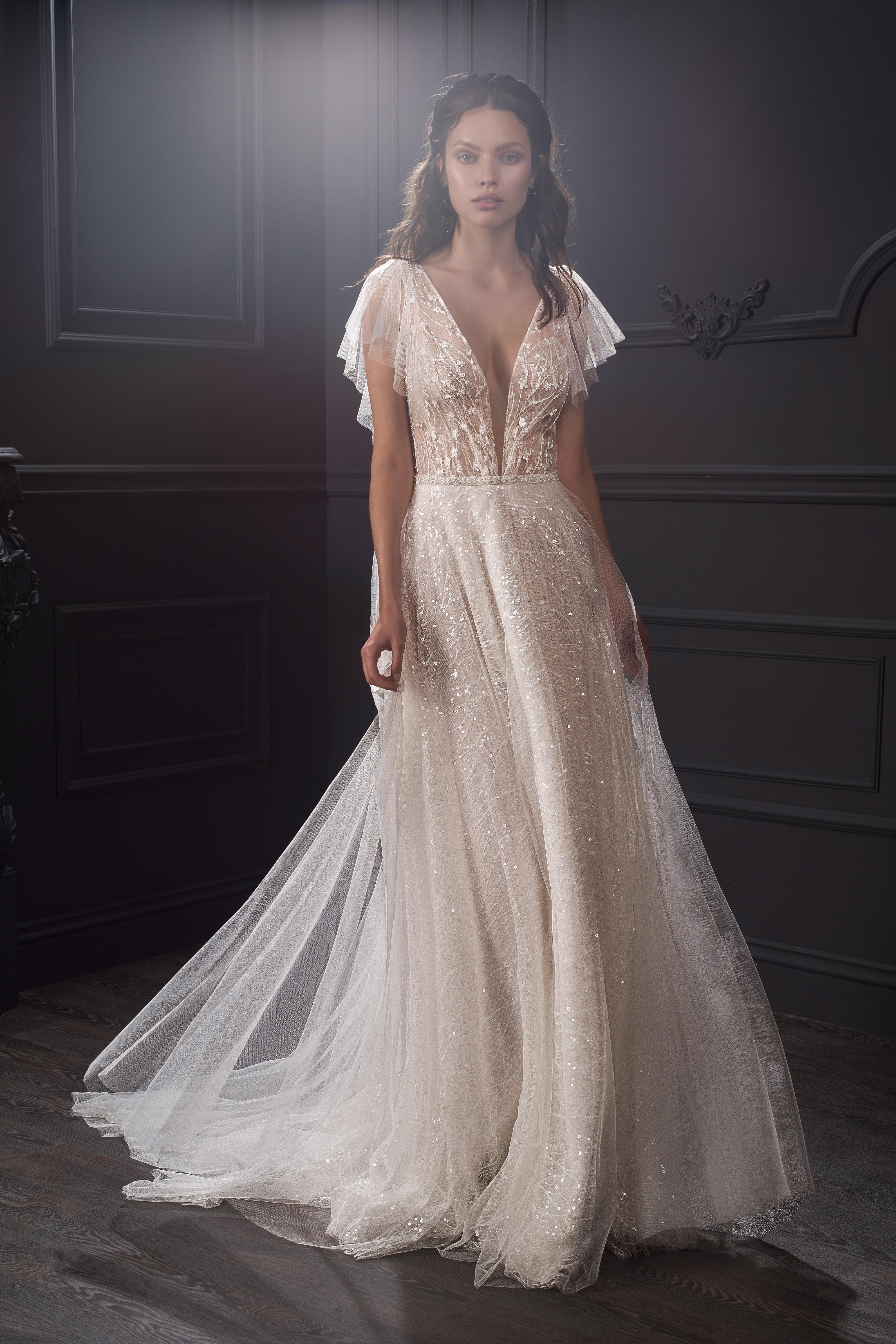 sheer lace bodice flutter sleeves glitter tulle a-line wedding dress Lihi Hod Spring 2020