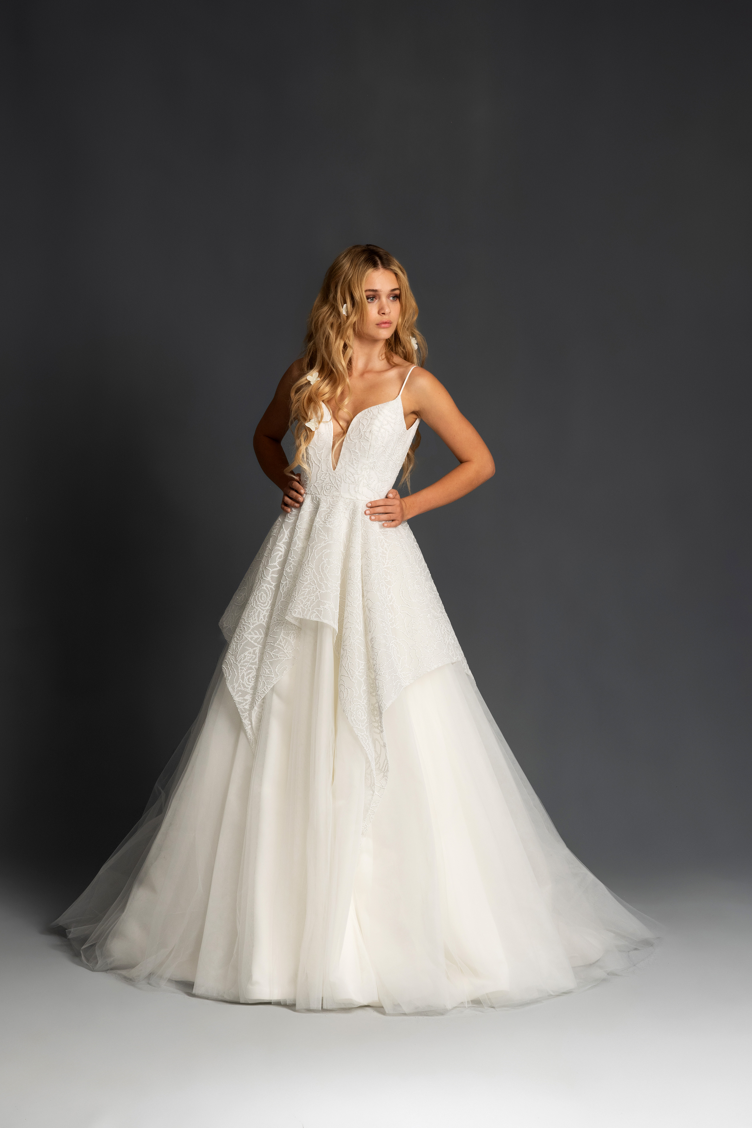 blush hayley paige spaghetti strap deep v a line wedding dress spring 2020