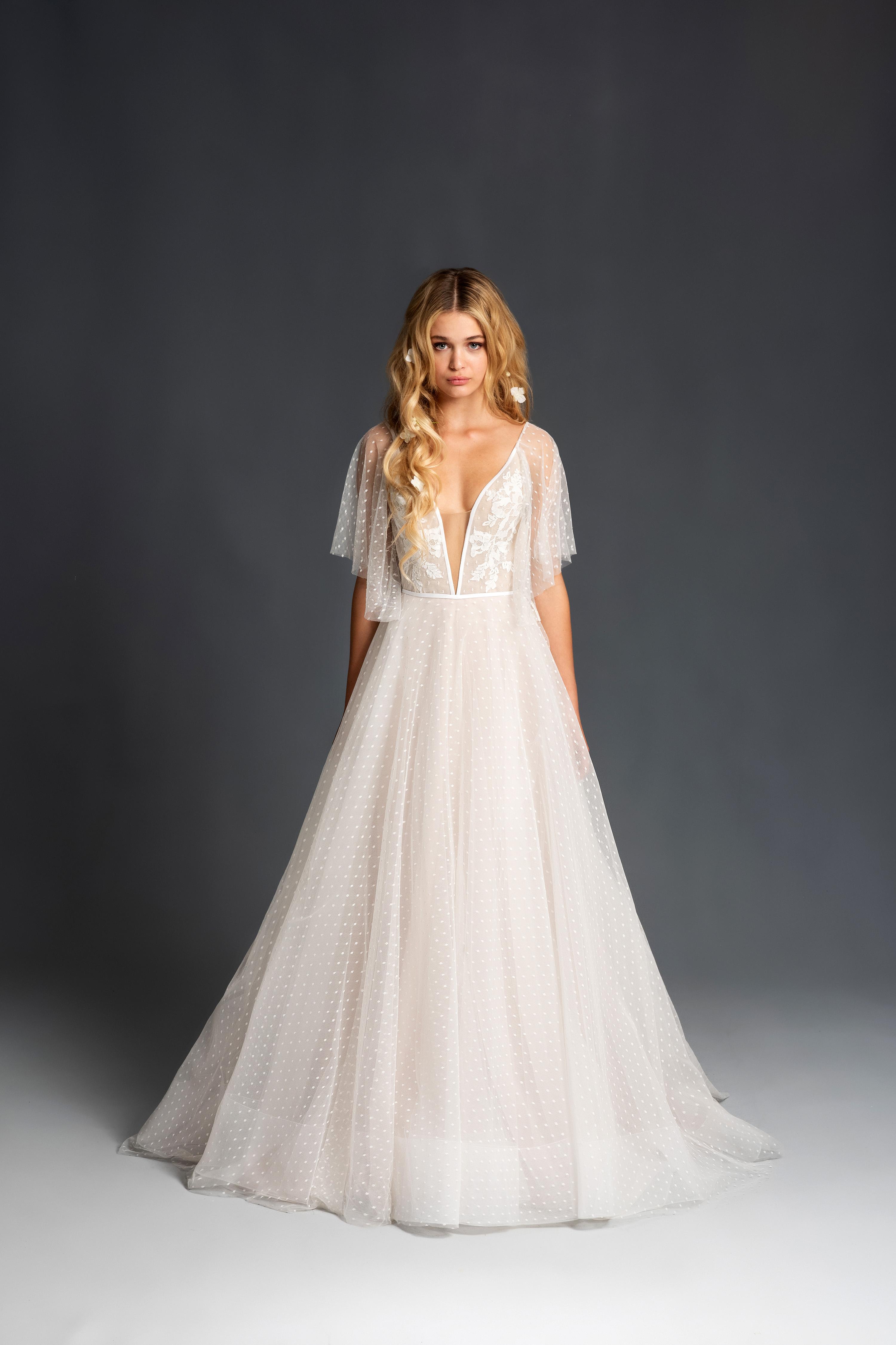 blush hayley paige elbow length sleeves deep v a line wedding dress spring 2020