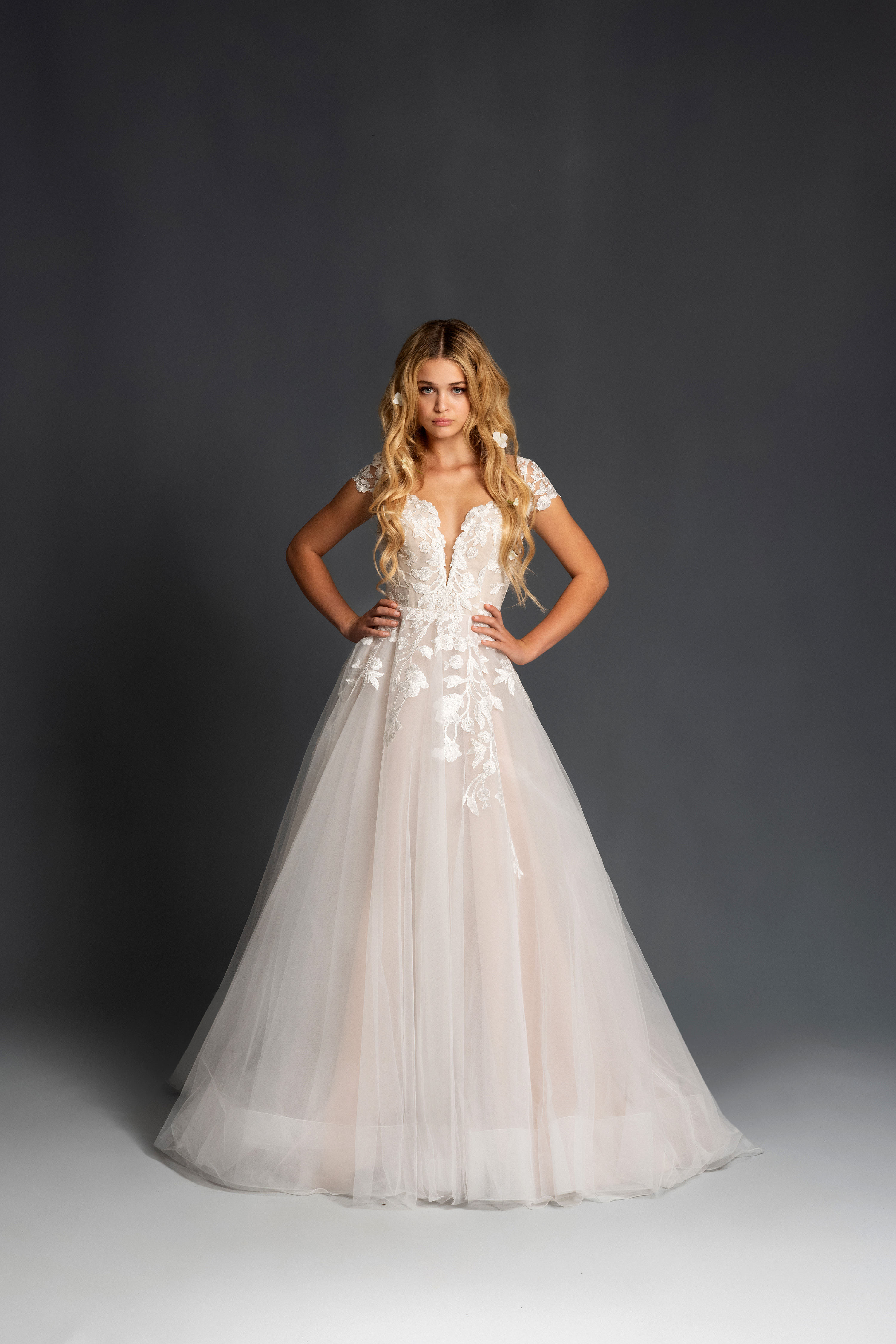 blush hayley paige cap sleeves floral applique tulle ballgown wedding dress spring 2020