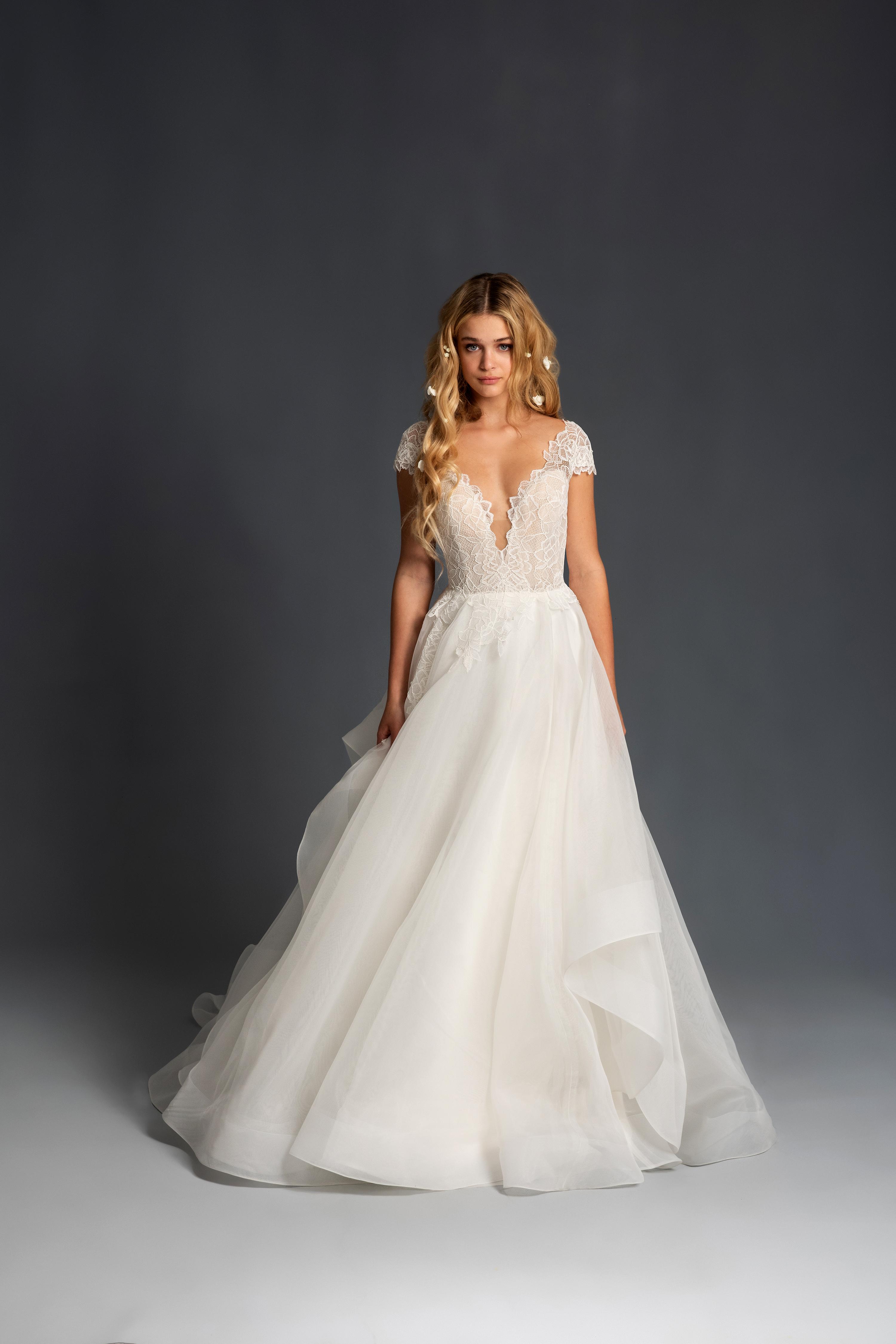 blush hayley paige cap sleeves deep v a line wedding dress spring 2020