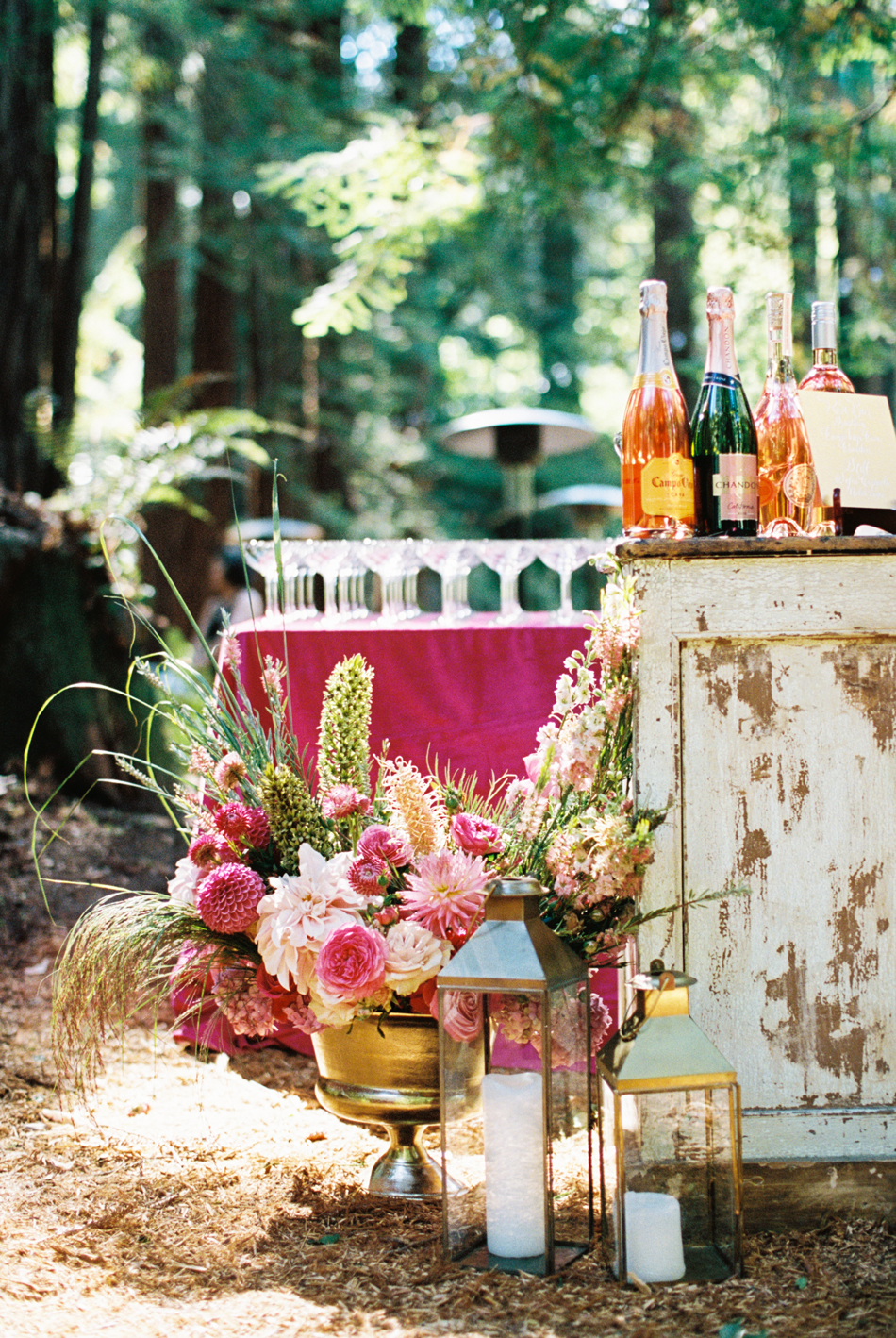 outdoor woods cocktail hour bar set up