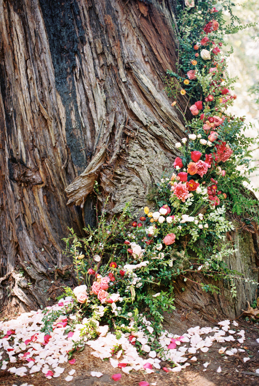 pink and red array of florals decorate side of the tree
