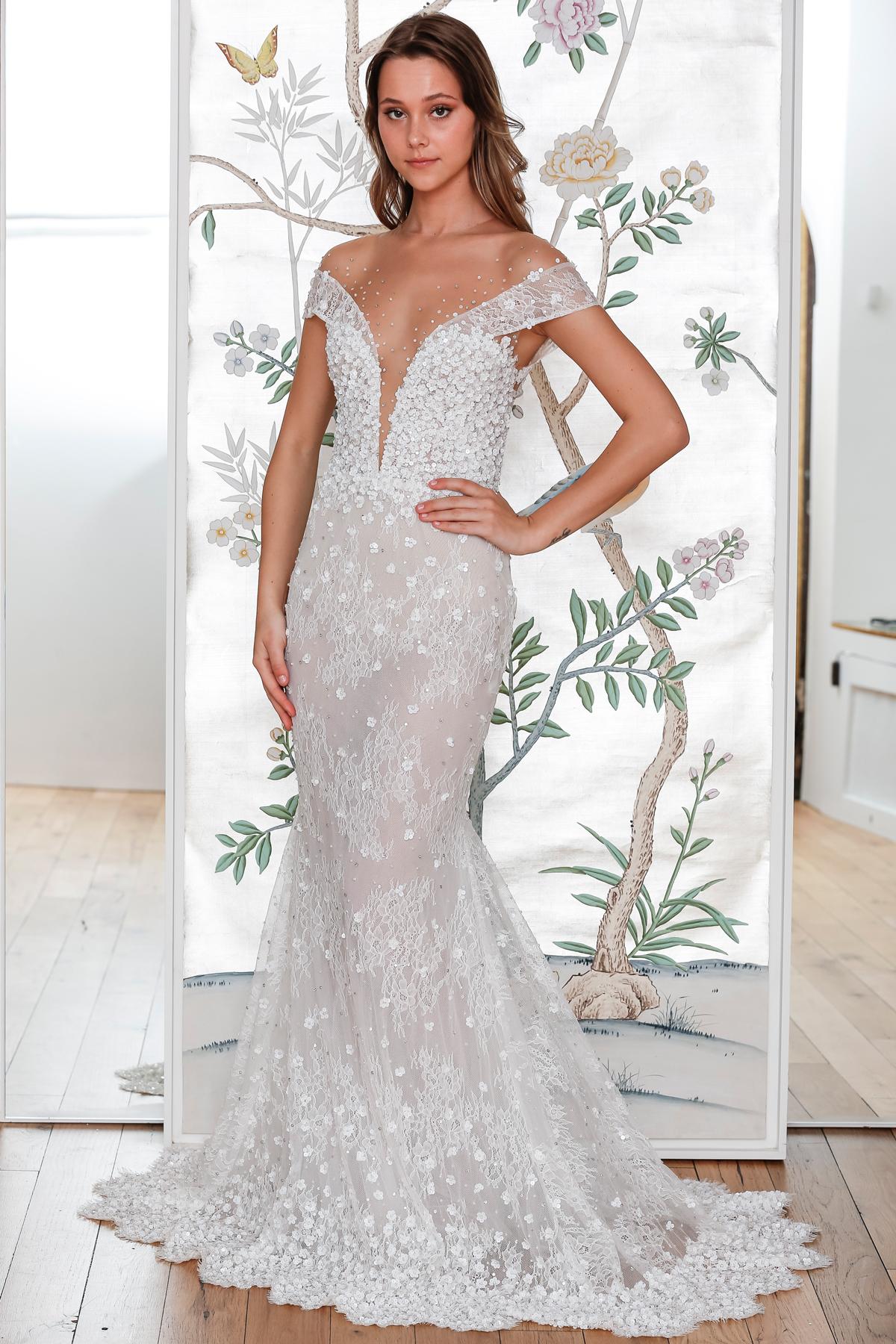 lee petra grebenau lace off the shoulder mermaid wedding dress spring 2020