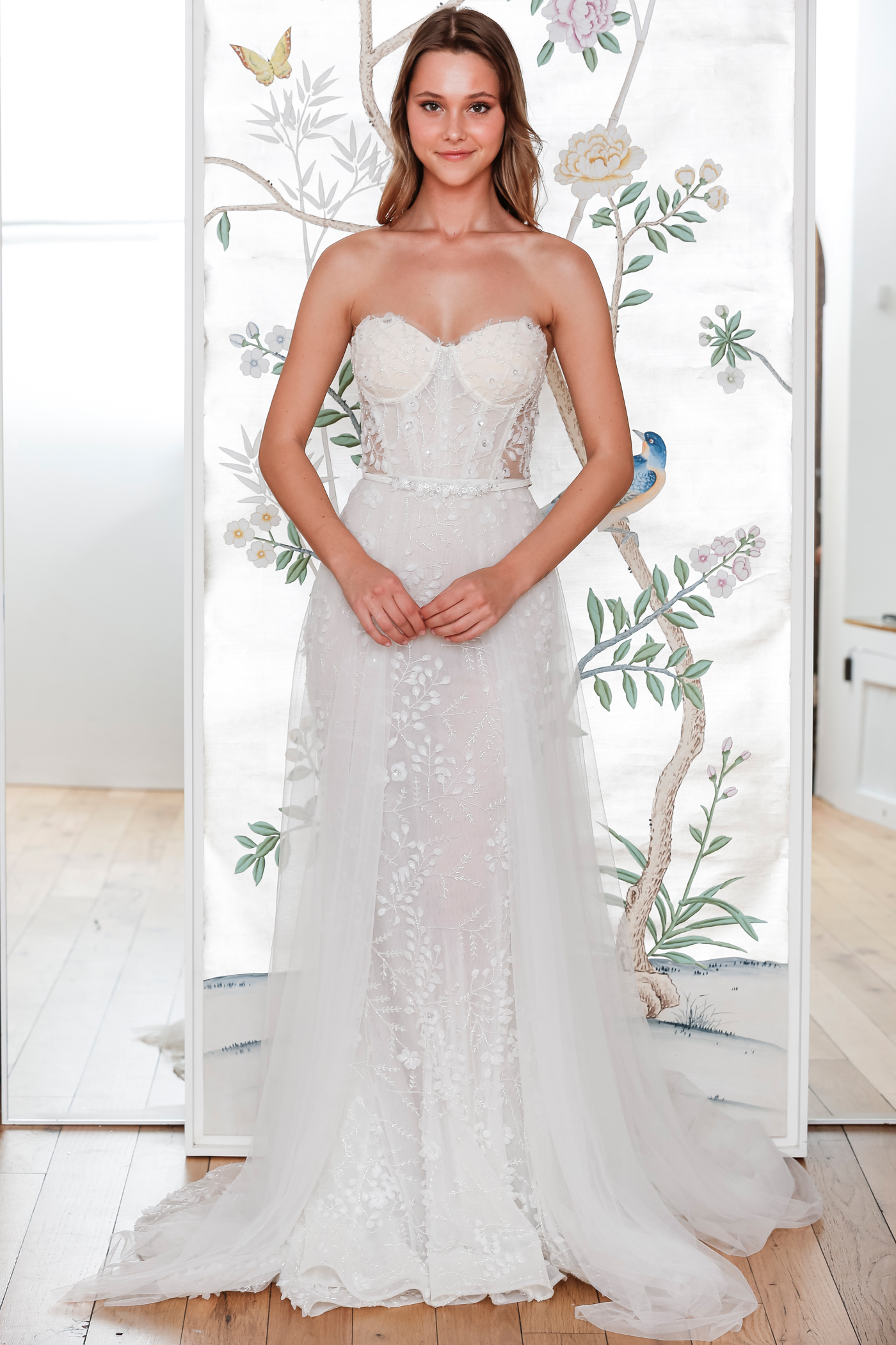 lee petra grebenau belted strapless wedding dress with overskirt spring 2020