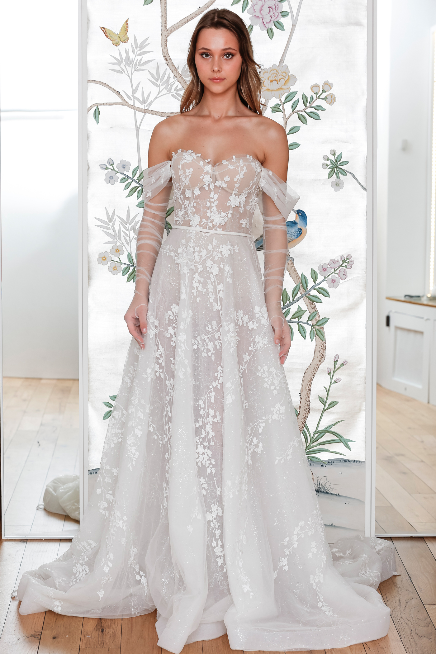 lee petra grebenau belted off the shoulder a line wedding dress with sheer arm length gloves spring 2020