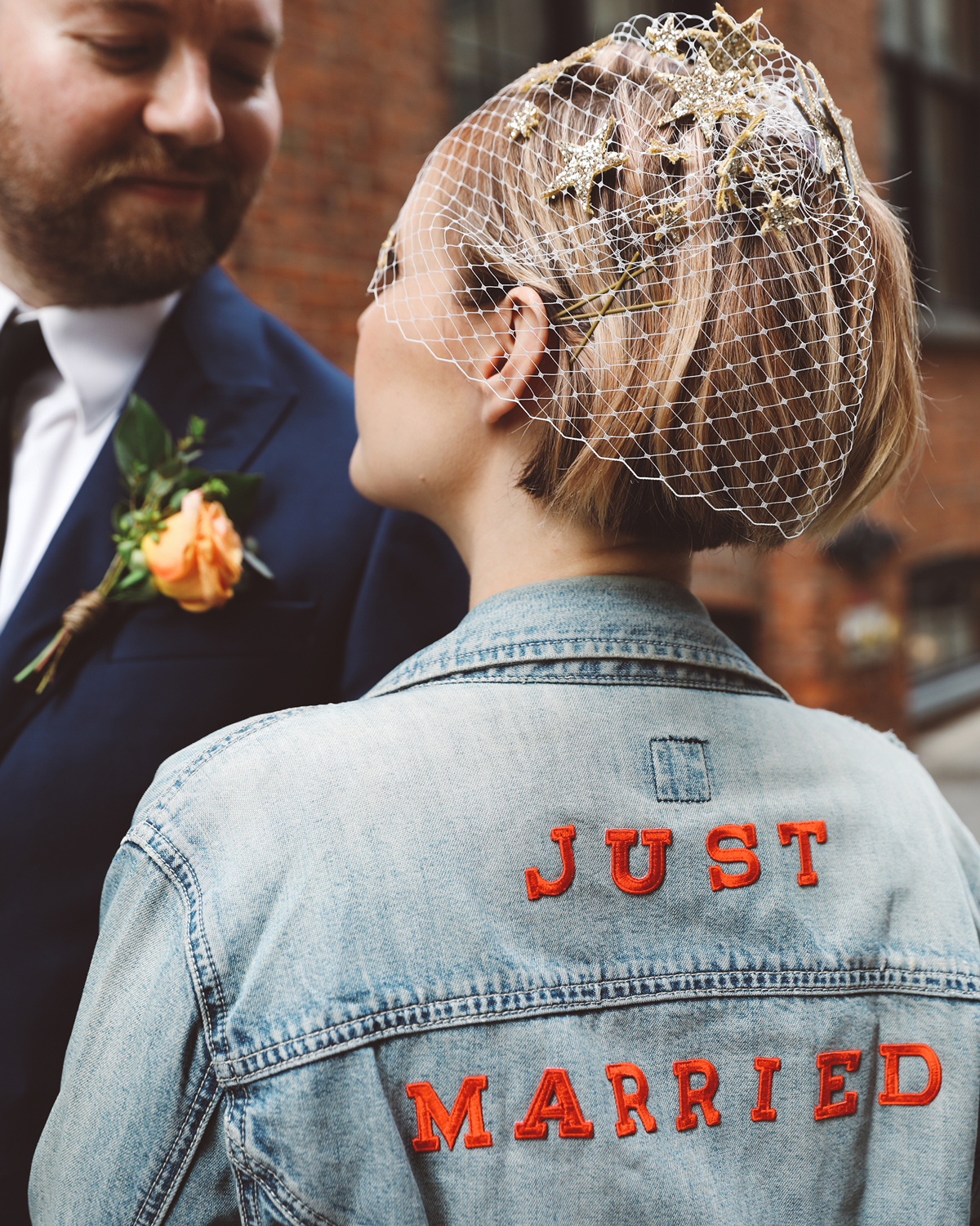 wedding after party embroidered denim jacket