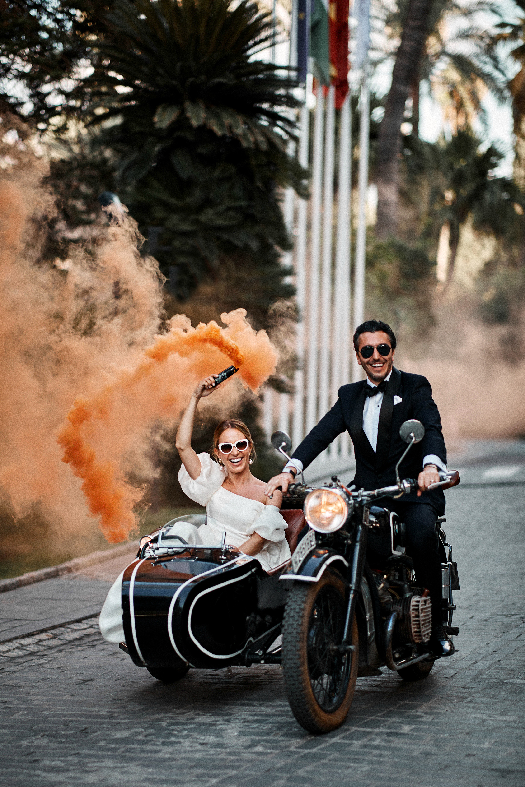 karolina sorab wedding bride groom couple motorcycle