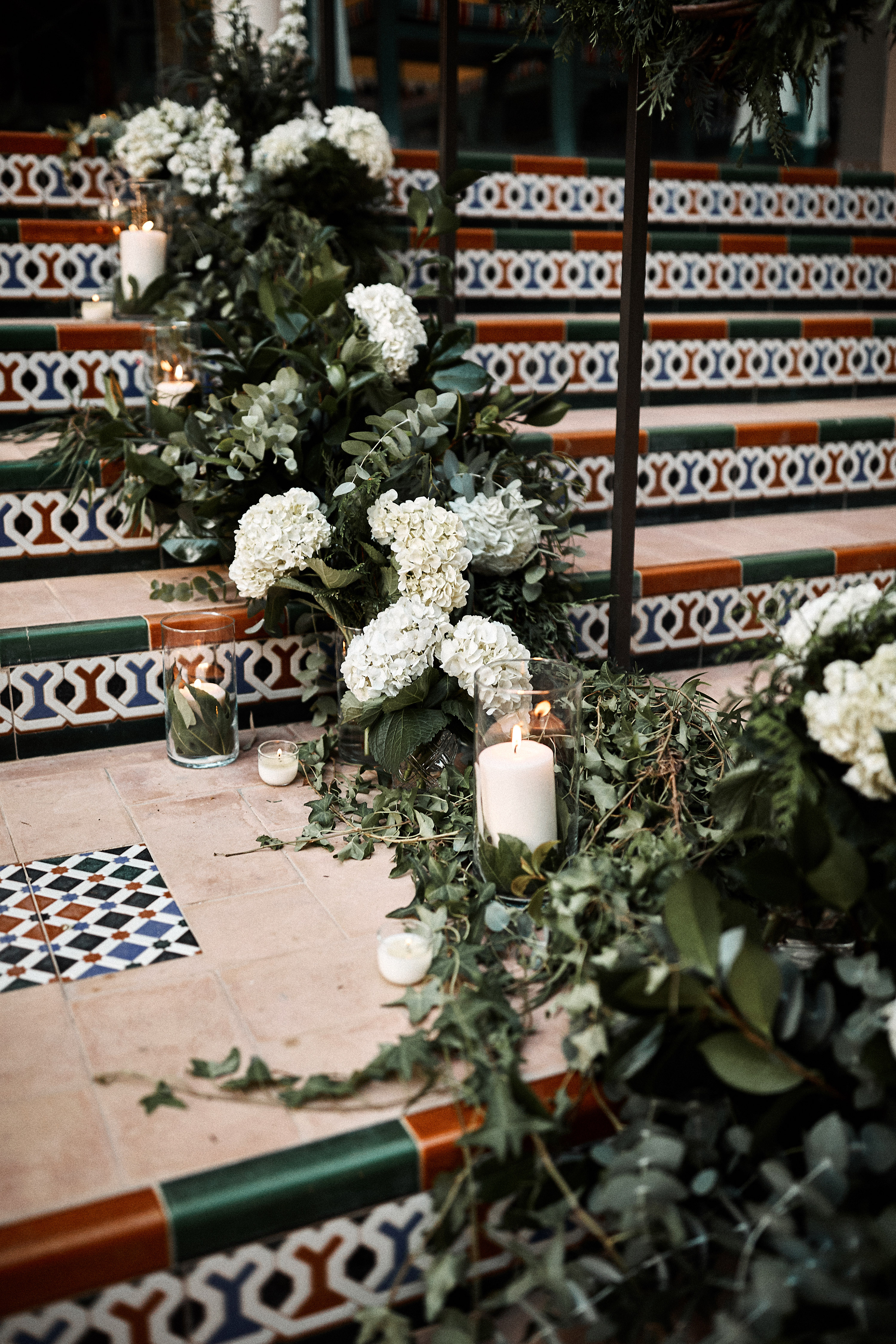 karolina sorab wedding flower arrangement on stairs