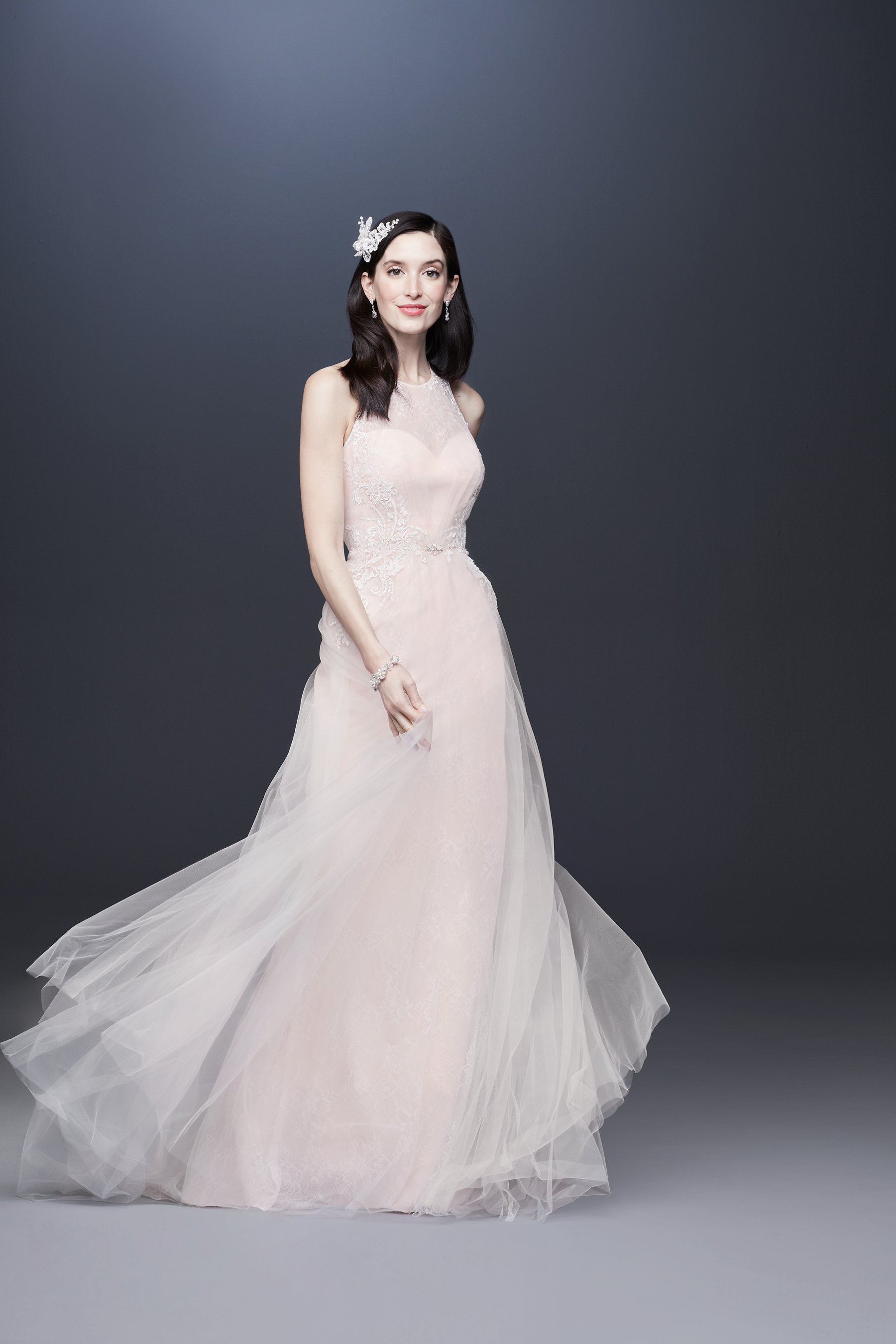 illusion high neck sleeveless tulle skirt a-line wedding dress Davids Bridal Spring 2020
