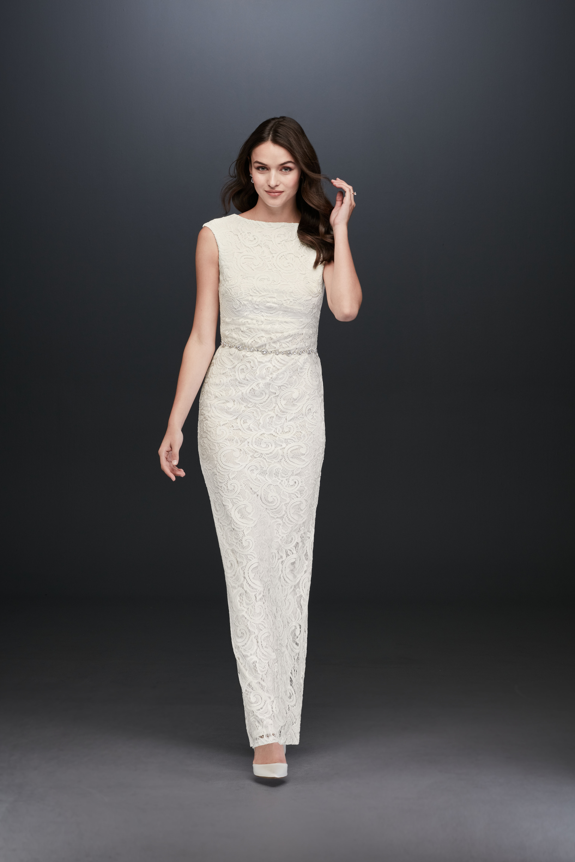 sleeveless sheath belted lace embellished wedding dress DB Studio Spring 2020