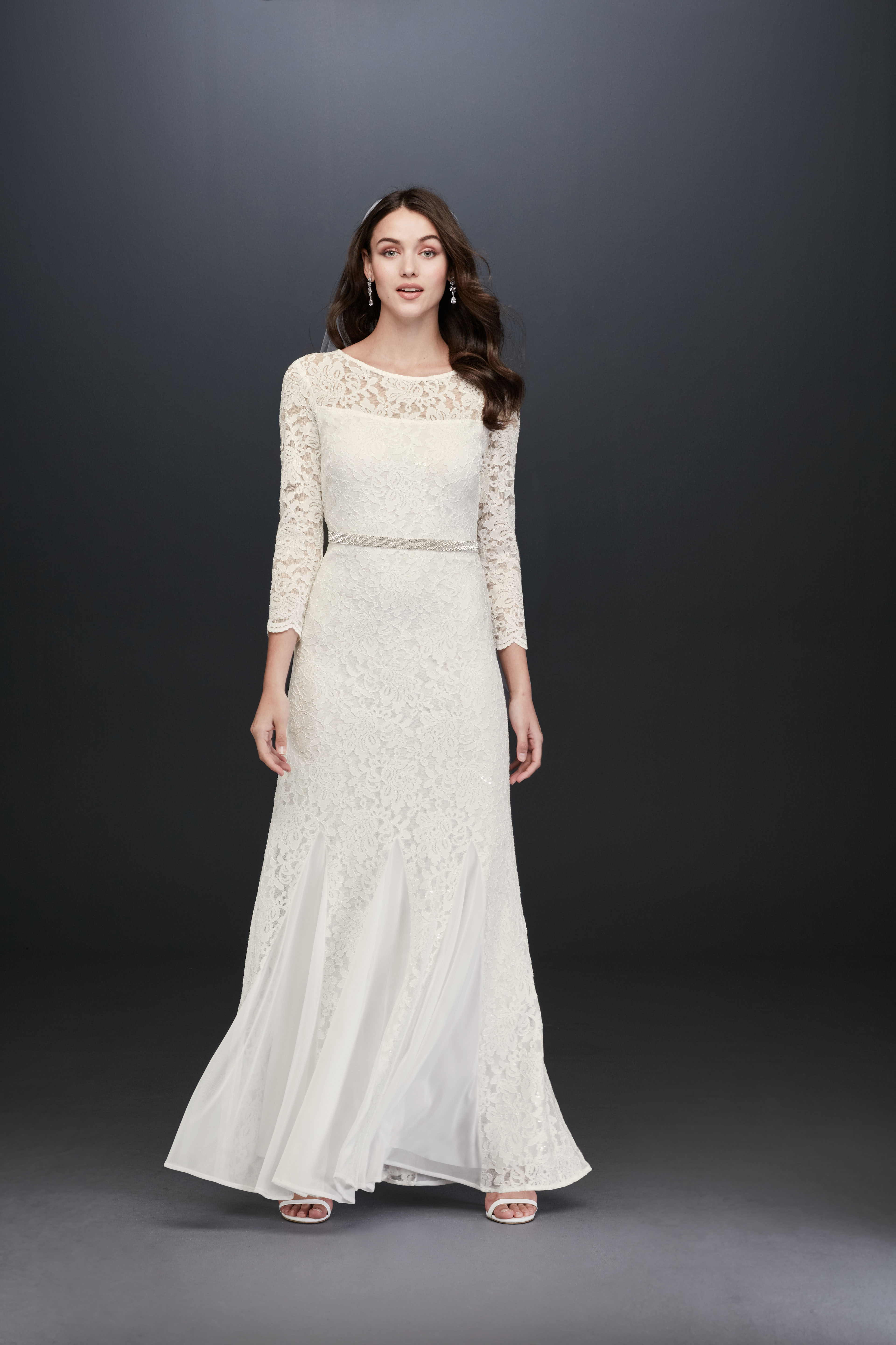 boat neck lace long sleeve a-line wedding dress DB Studio Spring 2020