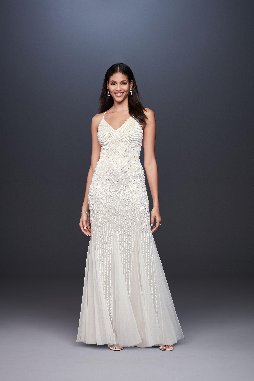 spaghetti strap v-neck beaded mermaid wedding dress DB Studio Spring 2020