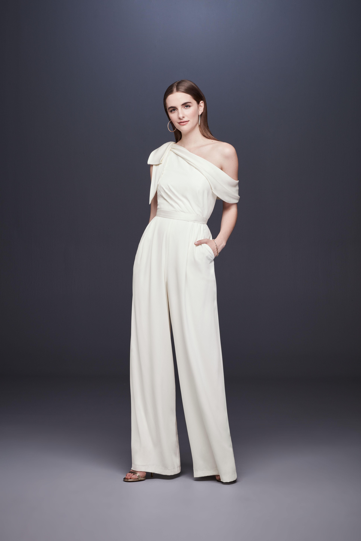one shoulder bow belted wide leg jumpsuit wedding suit DB Studio Spring 2020