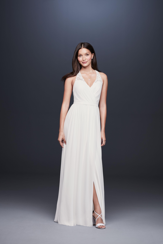 lace strap v-neck ruching small slit a-line wedding dress DB Studio Spring 2020