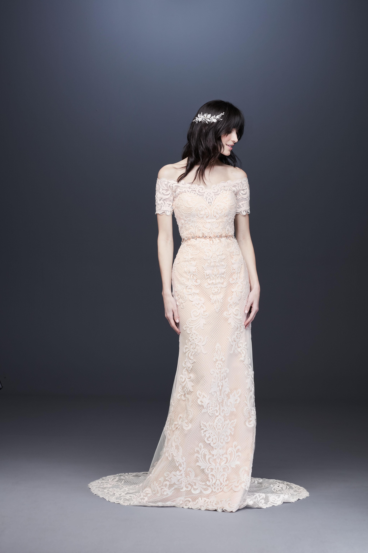 belted lace overlay off-shoulder wedding dress davids bridal galina Spring 2020